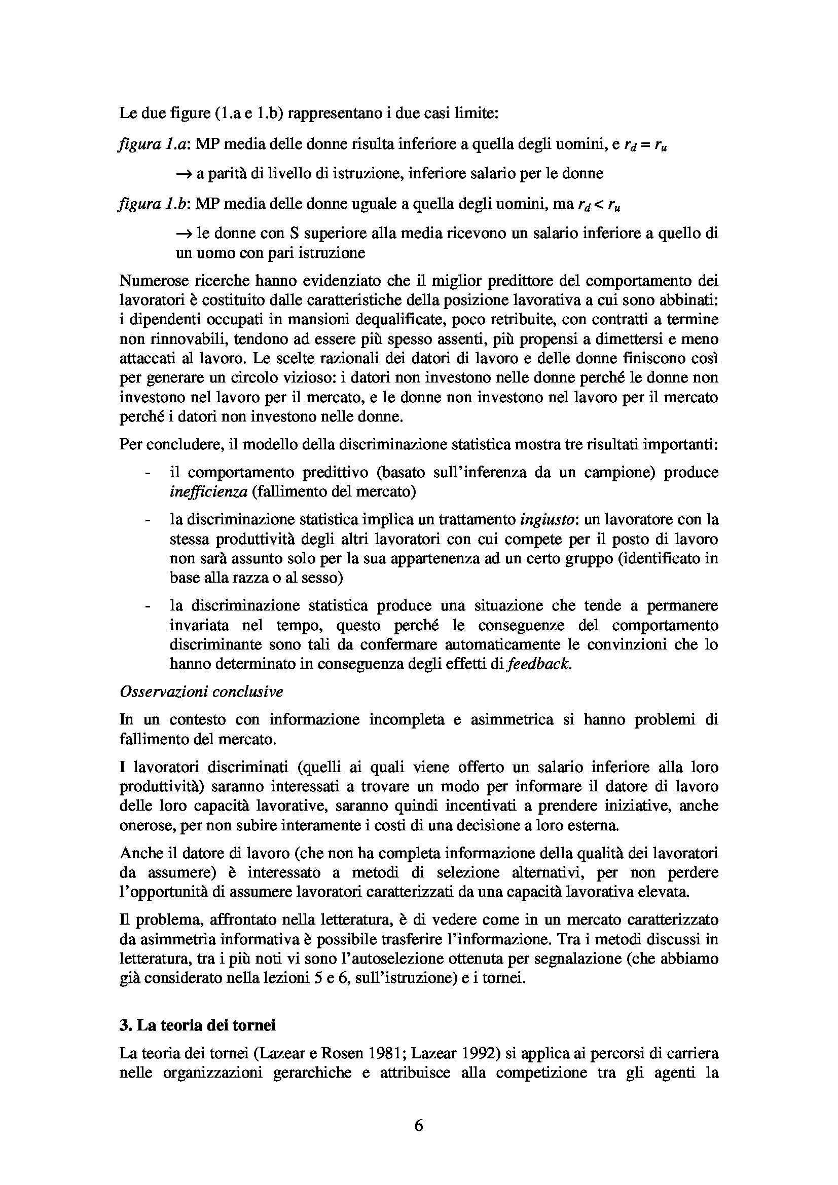 Economia del lavoro - discriminazione e tornei Pag. 6