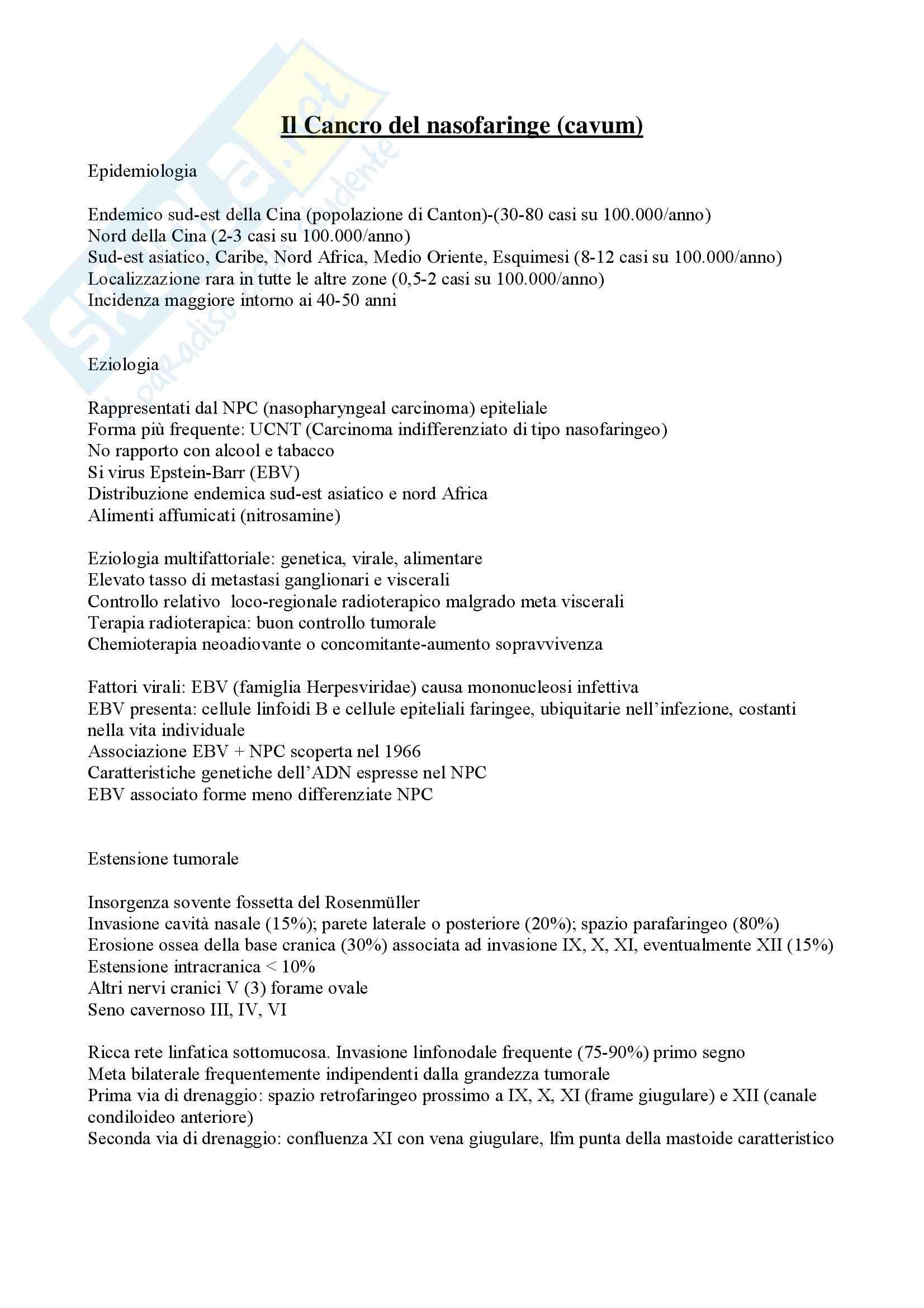 Rinofaringe - Cancro