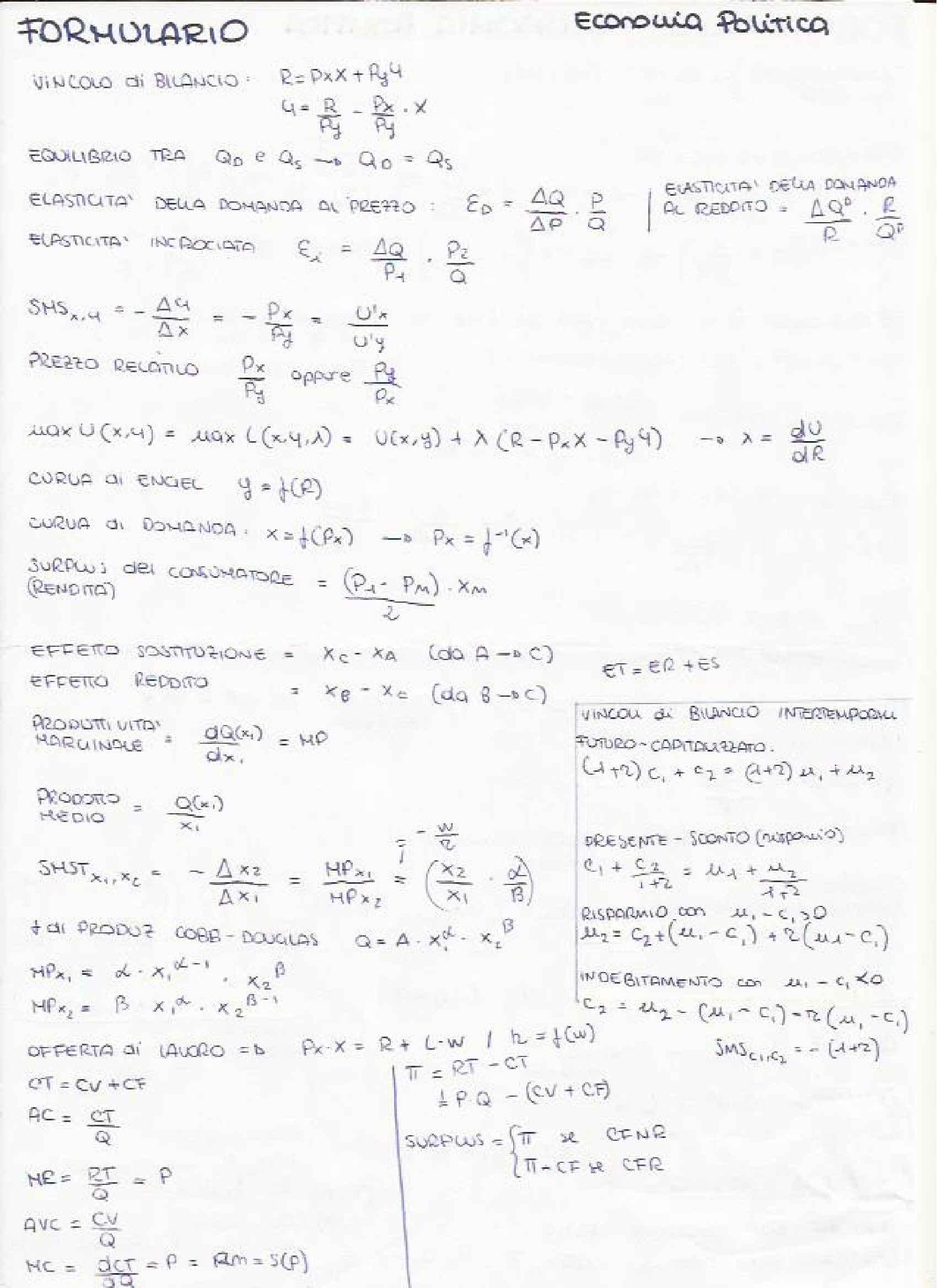 Economia Politica - Formulario e definizioni