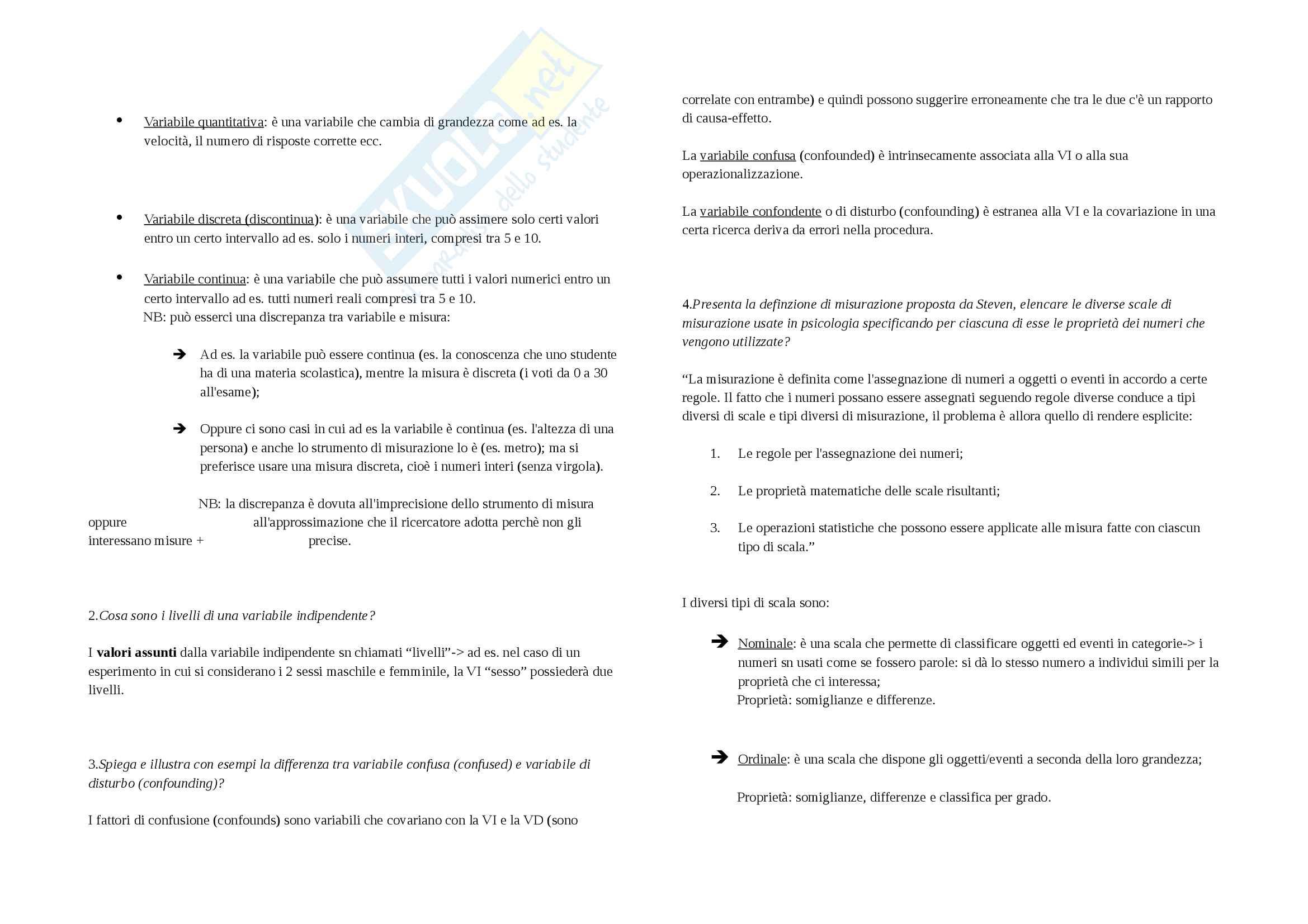 Domande d'esame Metodi di indagine in psicologia dello sviluppo Pag. 6