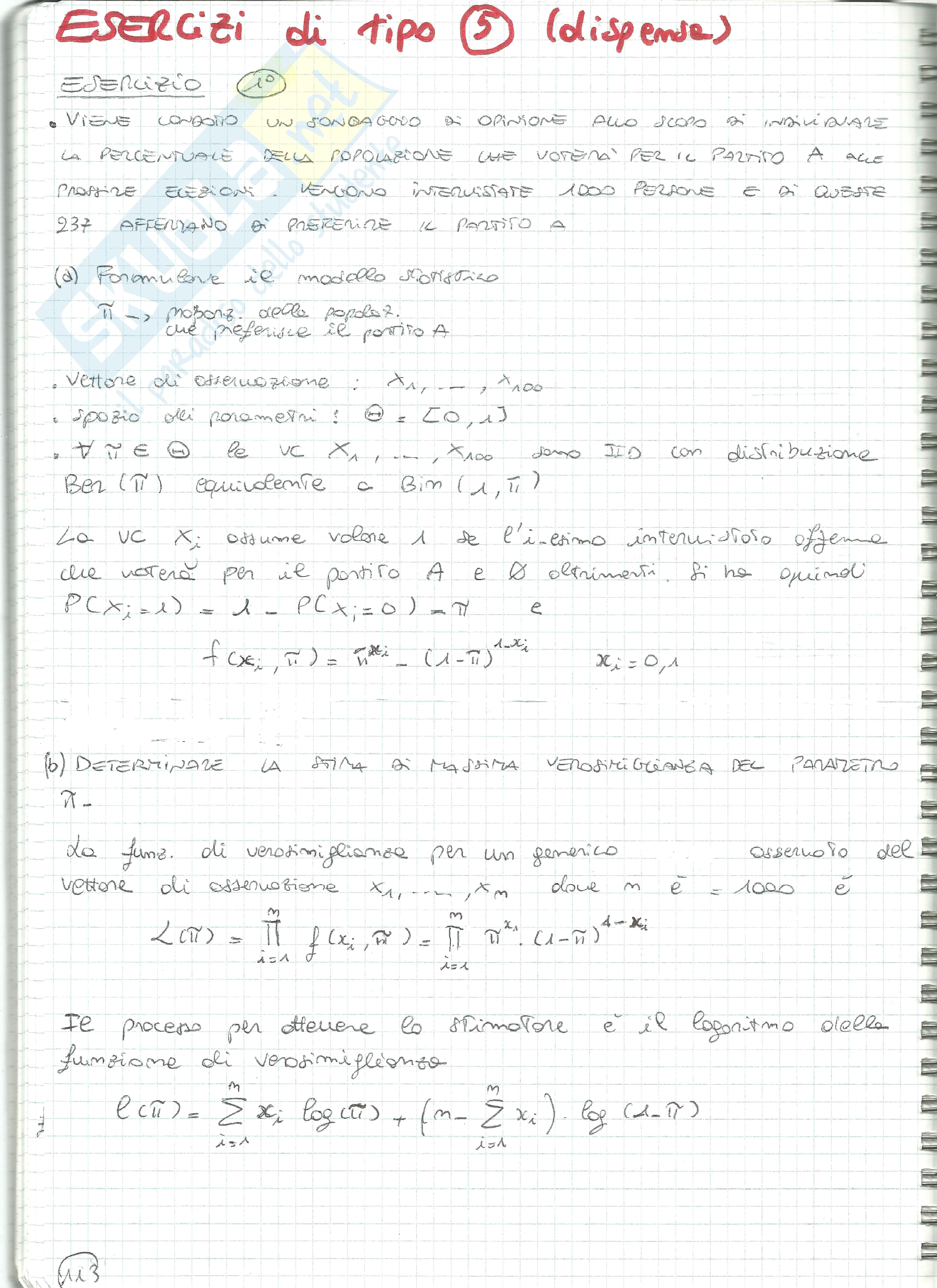 Esercizi Statistica tipo 5 (variabili casuali, Bernoulli, Binomiale, stima verosimiglianza, stimatori, confidenza)