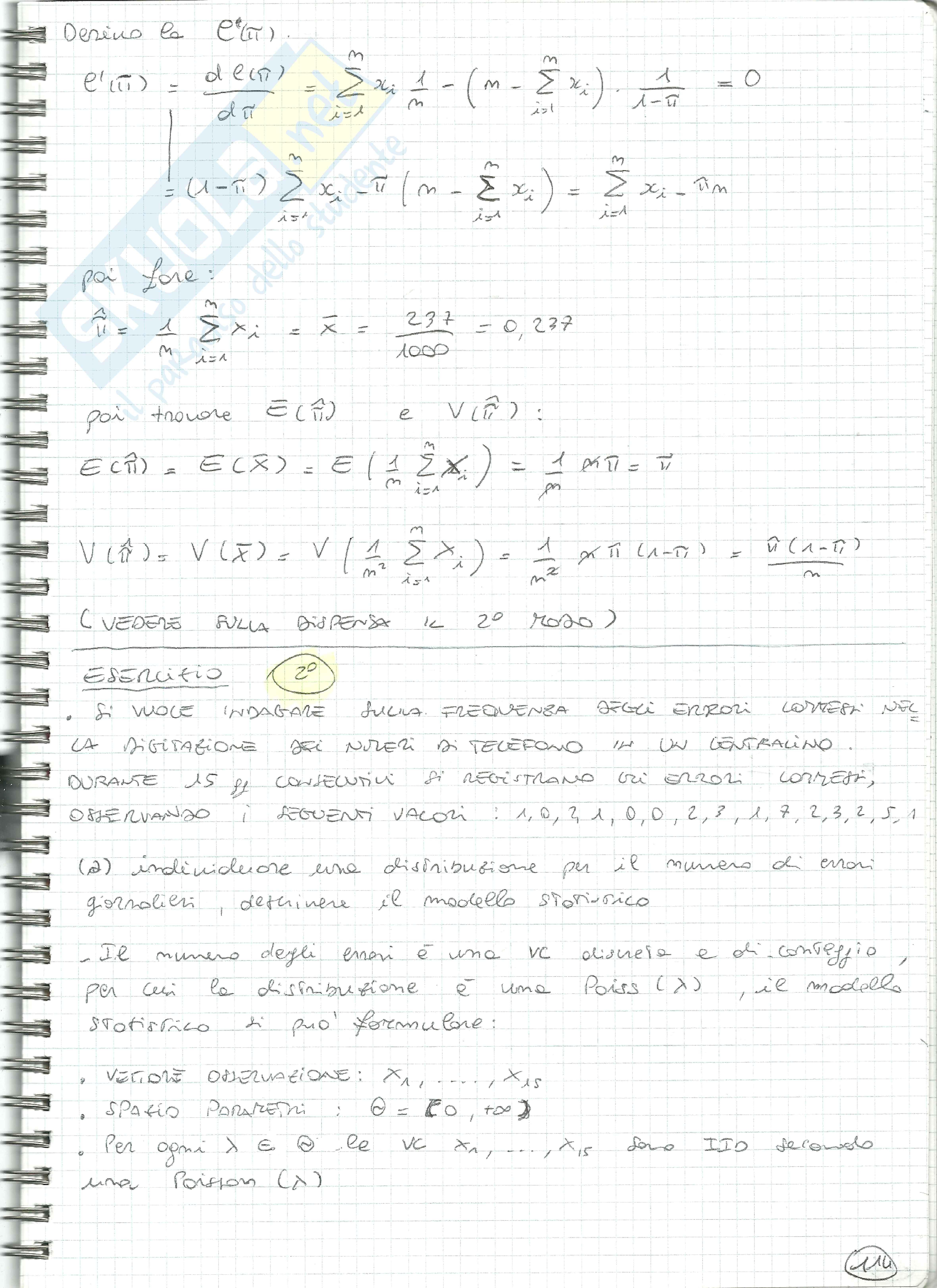 Esercizi Statistica tipo 5 (variabili casuali, Bernoulli, Binomiale, stima verosimiglianza, stimatori, confidenza) Pag. 2