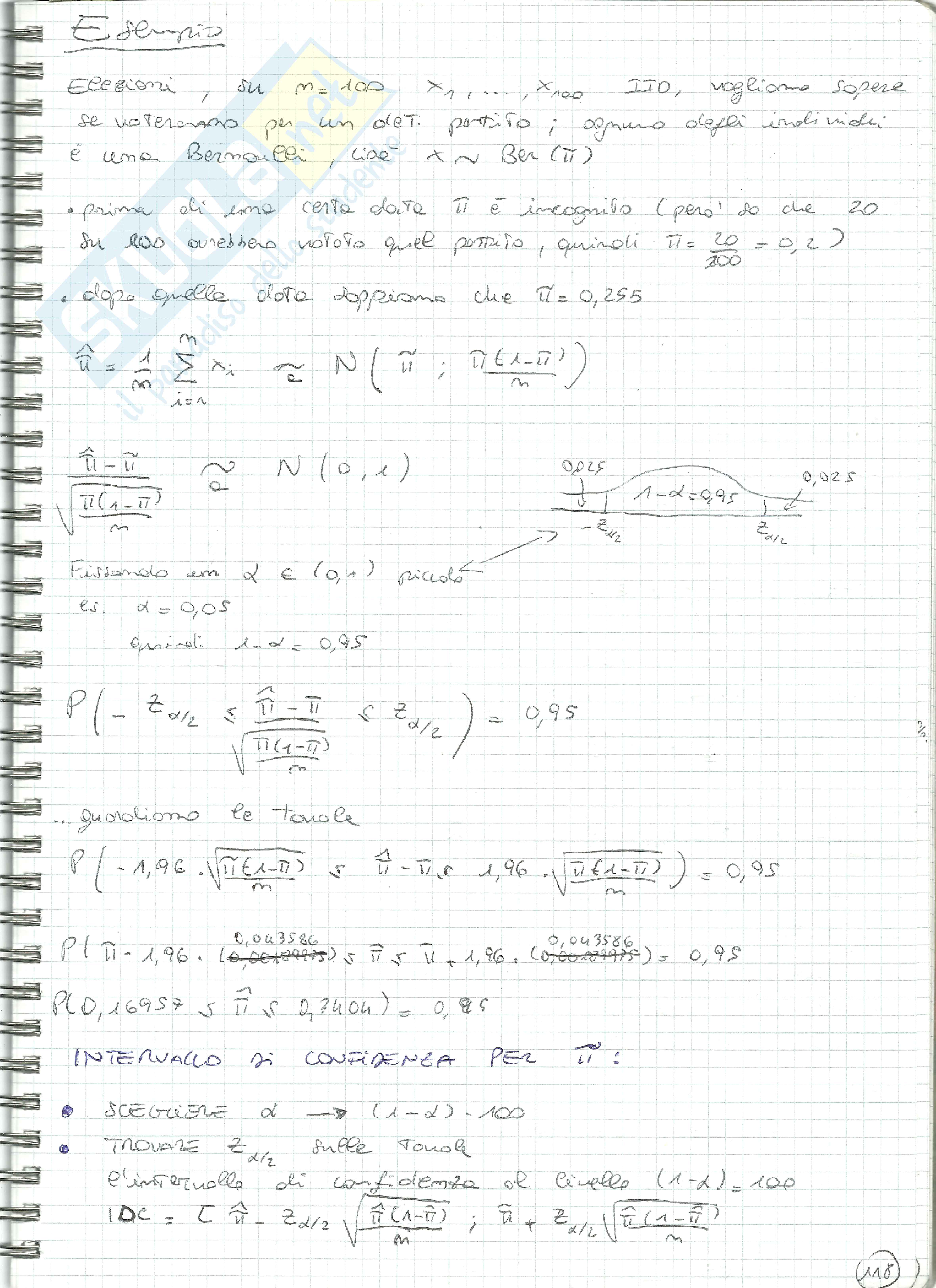 Esercizi Statistica tipo 5 (variabili casuali, Bernoulli, Binomiale, stima verosimiglianza, stimatori, confidenza) Pag. 6