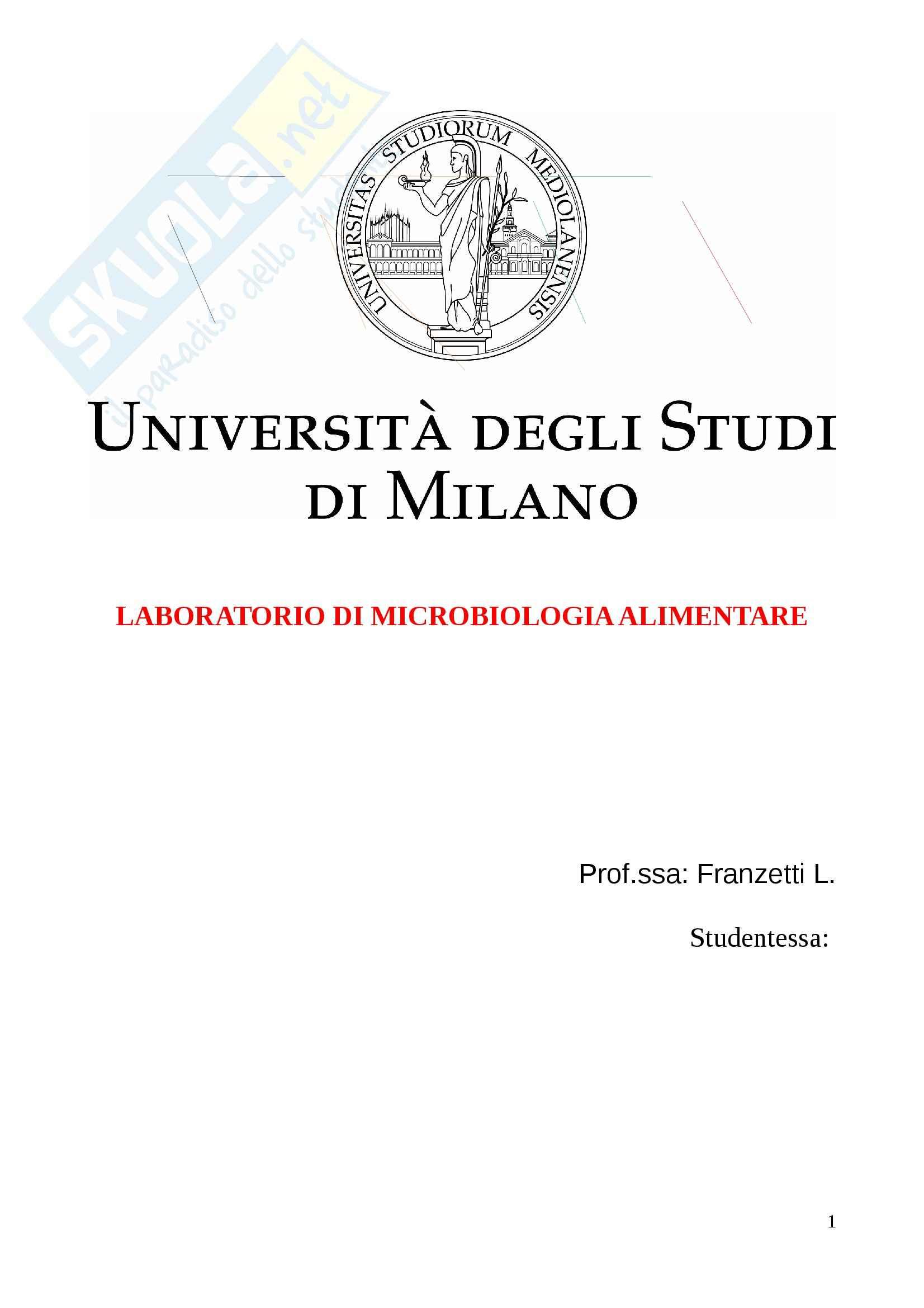 Microbiologia alimentare e industriale - Appunti