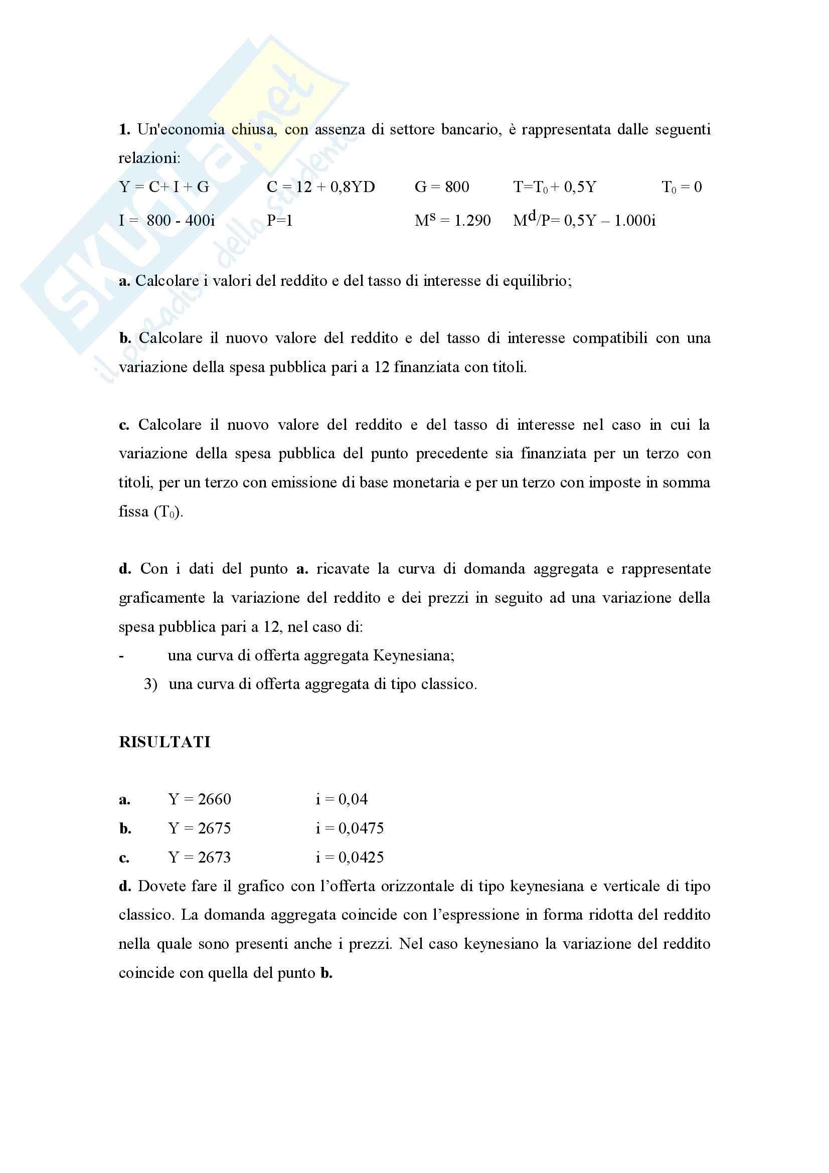 Economia Monetaria - Esercizi d'esame Pag. 11