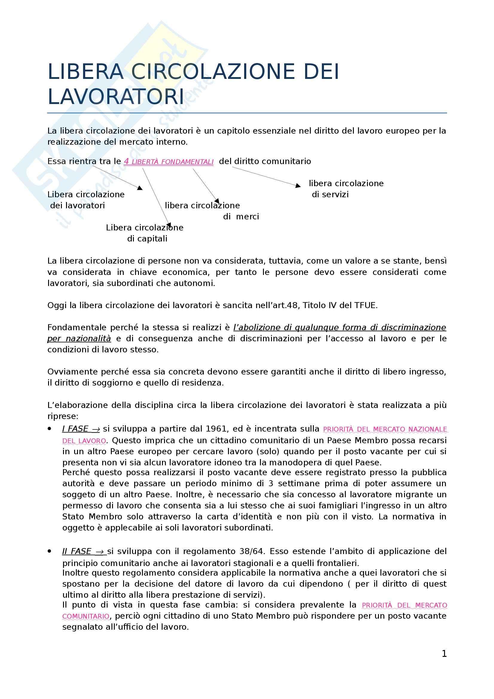 Diritto del lavoro dell'Unione Europea - la libera circolazione dei lavoratori