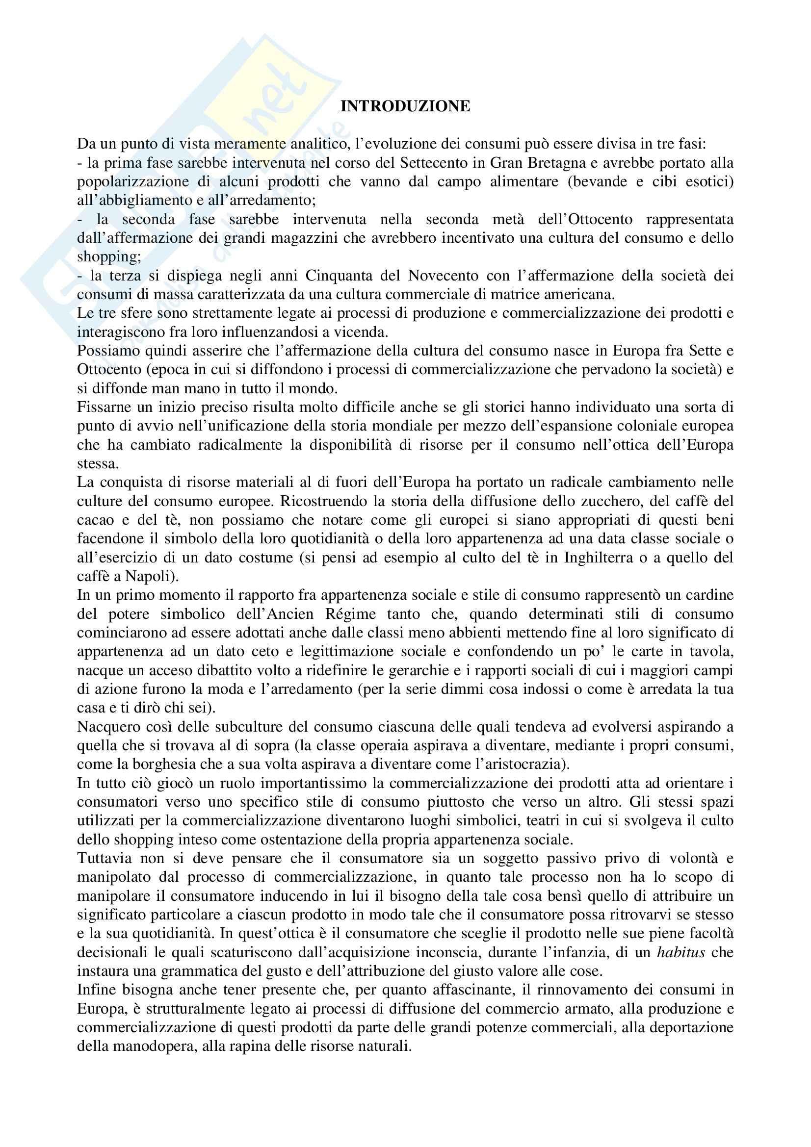 Riassunto esame Storia dell'Industria e dell'Impresa, prof. Rosolino, libro consigliato Culture del Consumo di Capuzzo