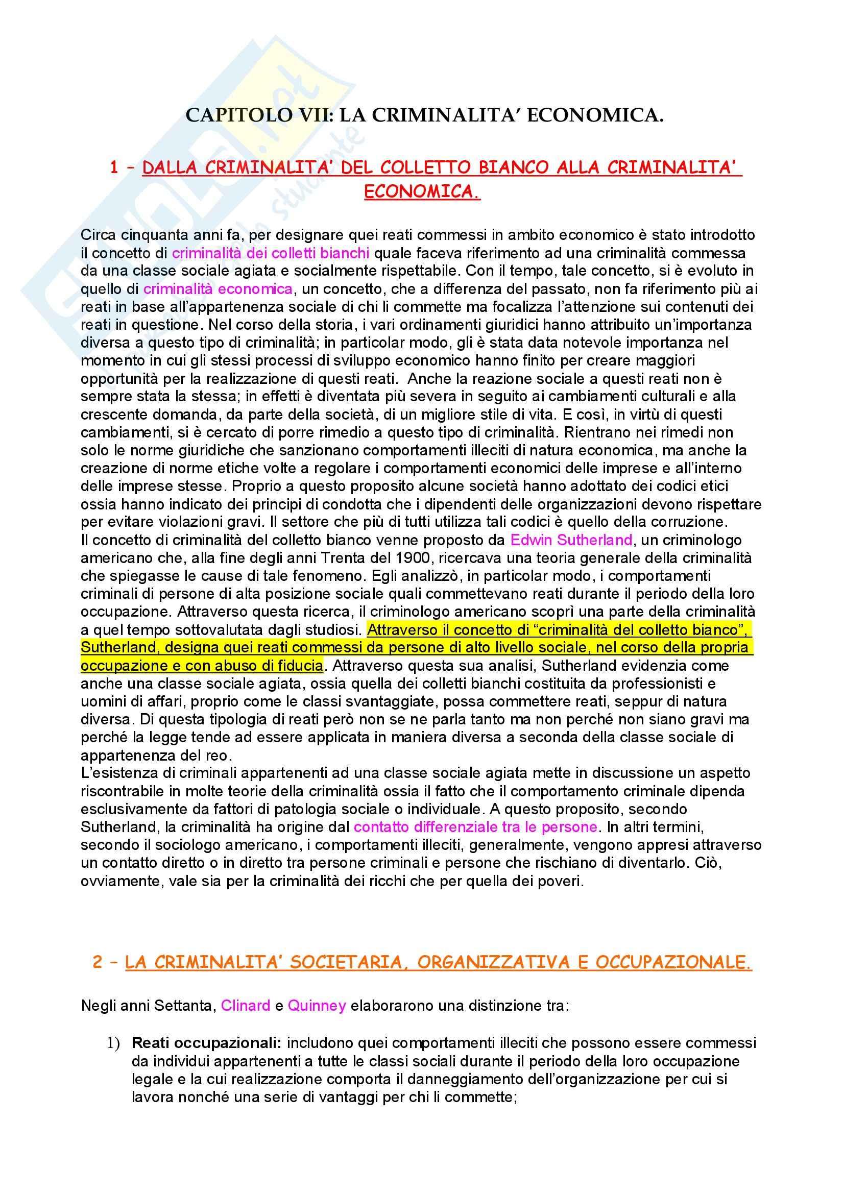 Sociologia criminale – Sociologia della devianza – Criminalità economica