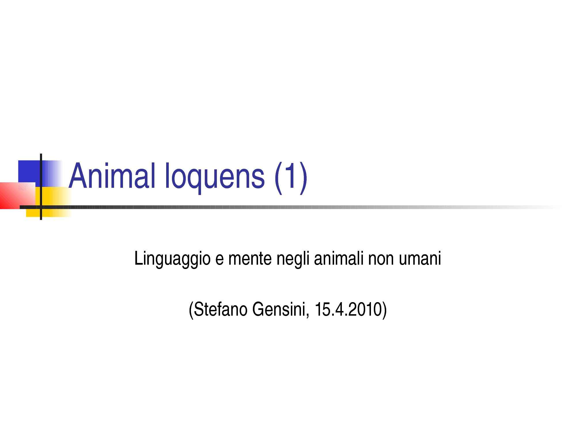 Animal loquens - Animali e filosofi