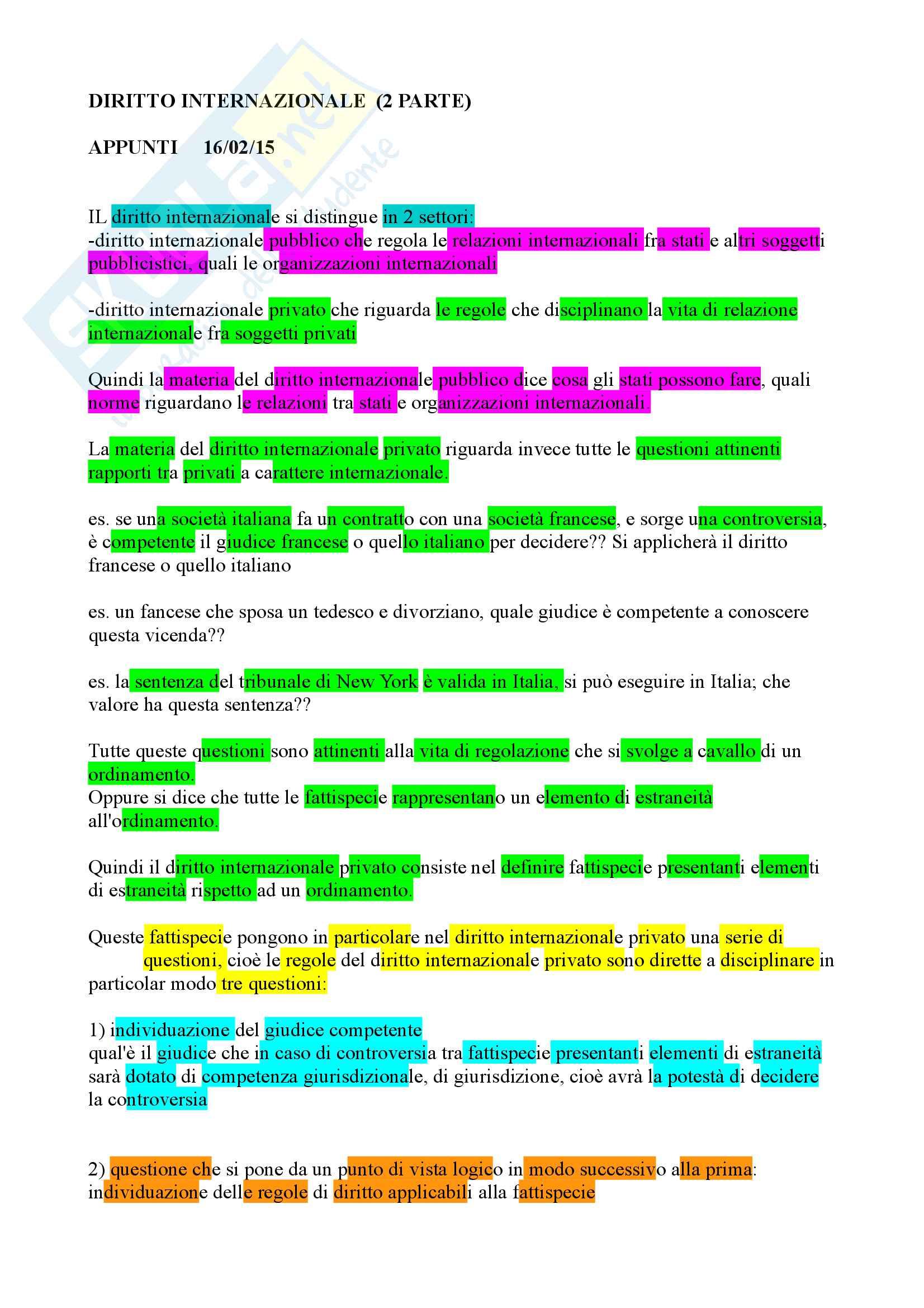 Appunti diritto internazionale privato