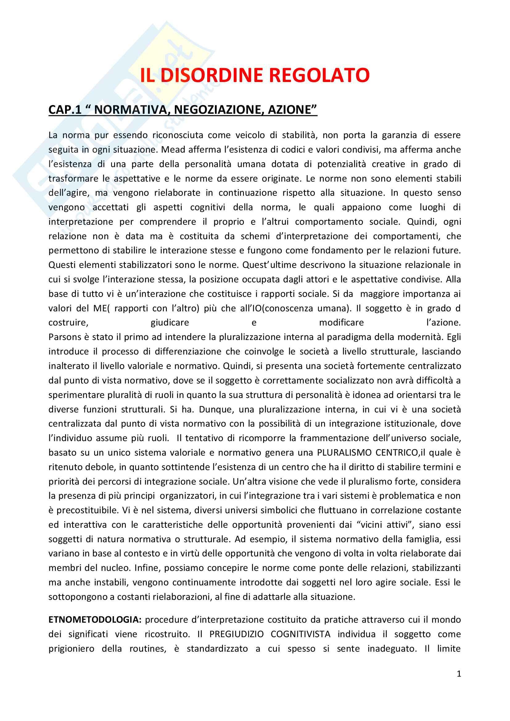 Riassunto esame Sociologia del diritto e della devianza, prof. F. D'Agostino, libro consigliato Il disordine regolato