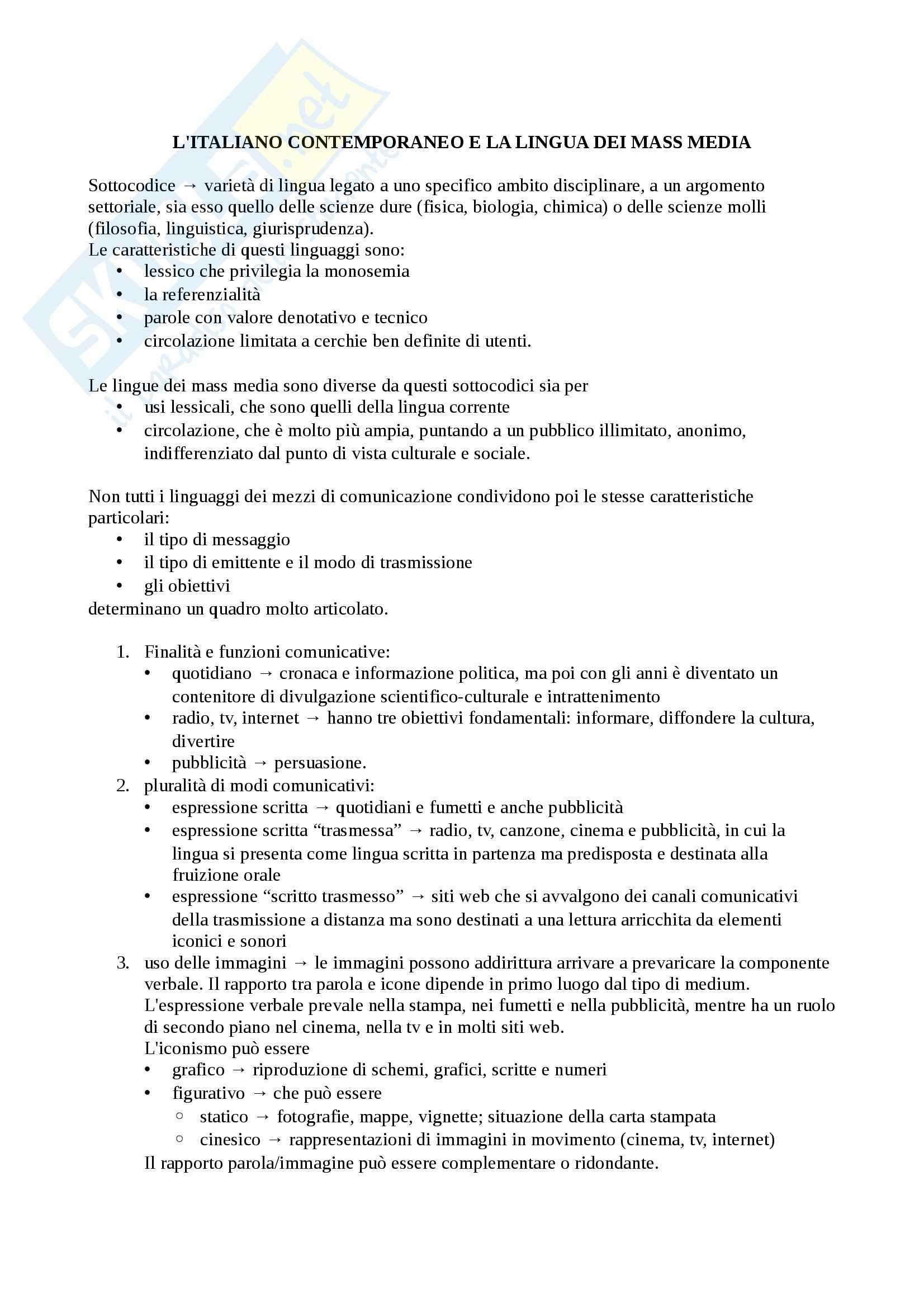 Riassunto esame Lingua Italiana e Comunicazione, prof. Piotti, libro consigliato La Lingua Italiana e Mass Media