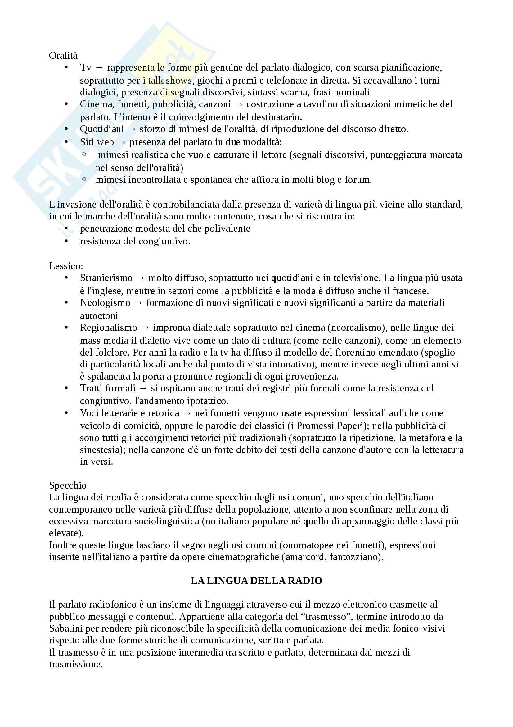 Riassunto esame Lingua Italiana e Comunicazione, prof. Piotti, libro consigliato La Lingua Italiana e Mass Media Pag. 2