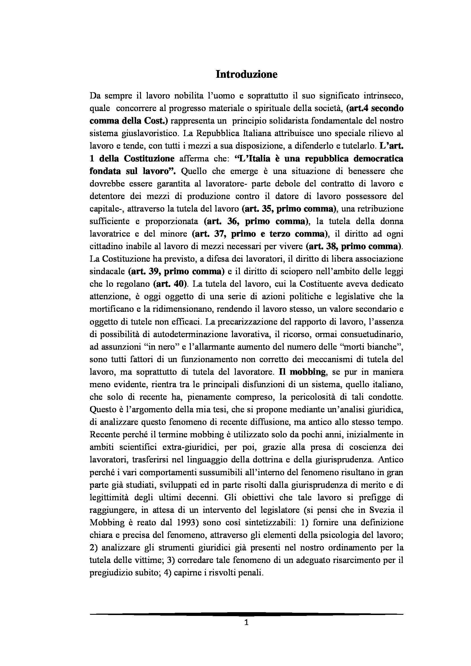 Tesi: Il Mobbing - Introduzione e capitoli