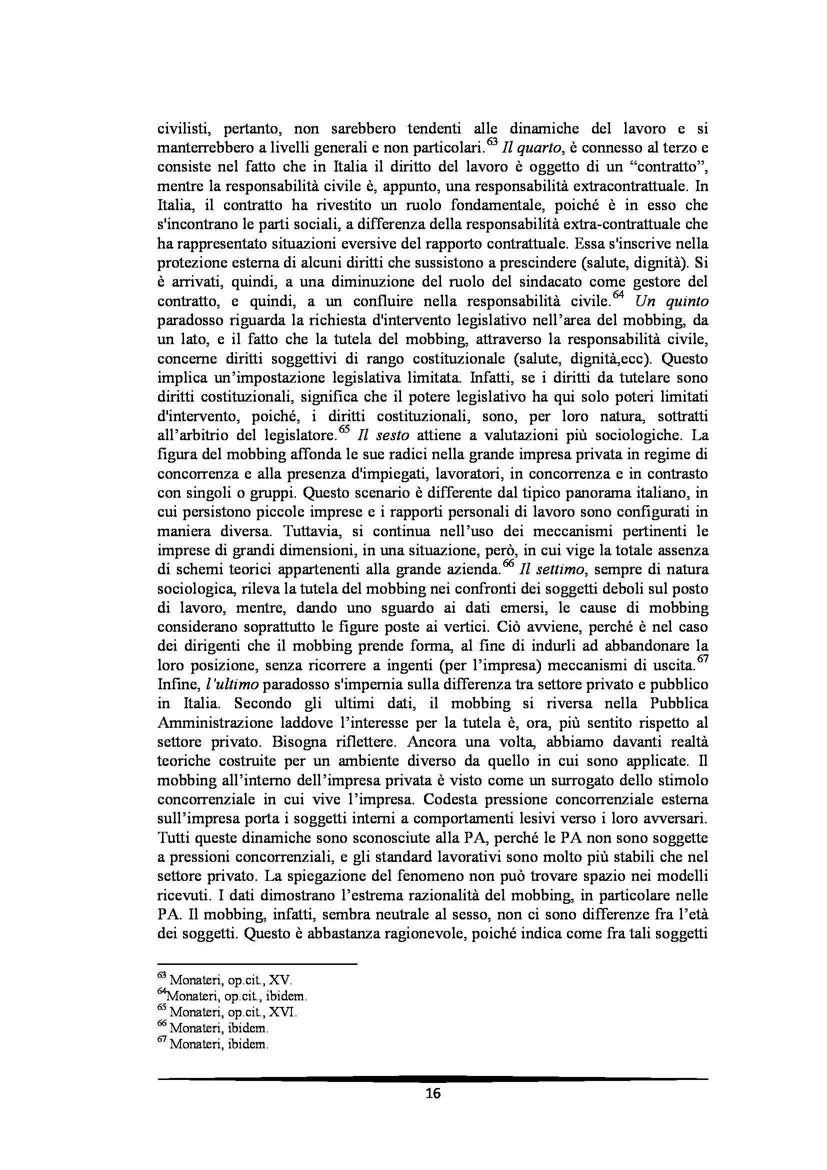 Tesi: Il Mobbing - Introduzione e capitoli Pag. 16