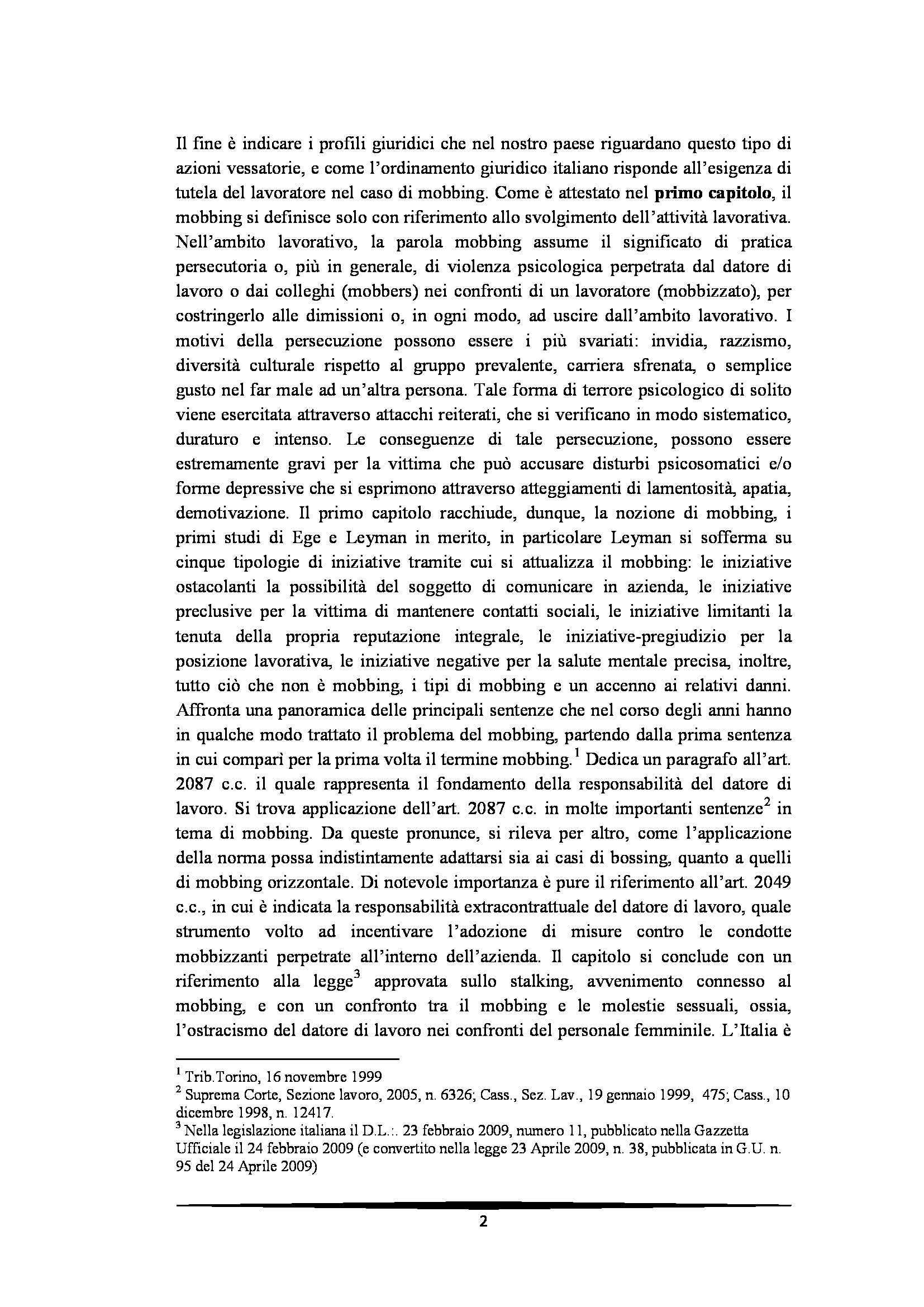 Tesi: Il Mobbing - Introduzione e capitoli Pag. 2
