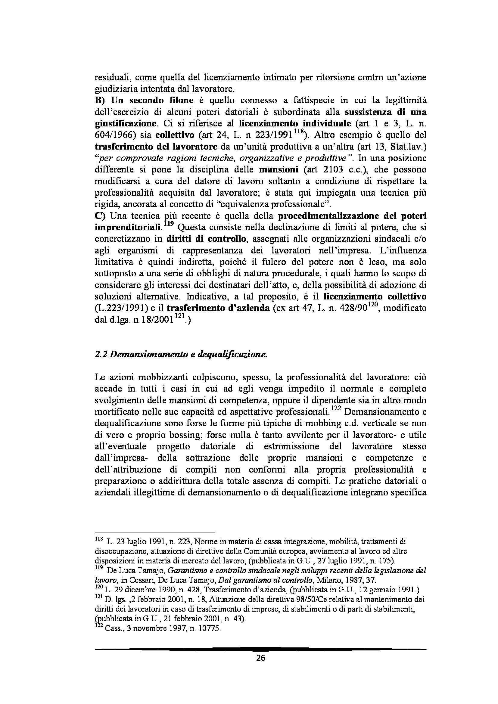 Tesi: Il Mobbing - Introduzione e capitoli Pag. 26