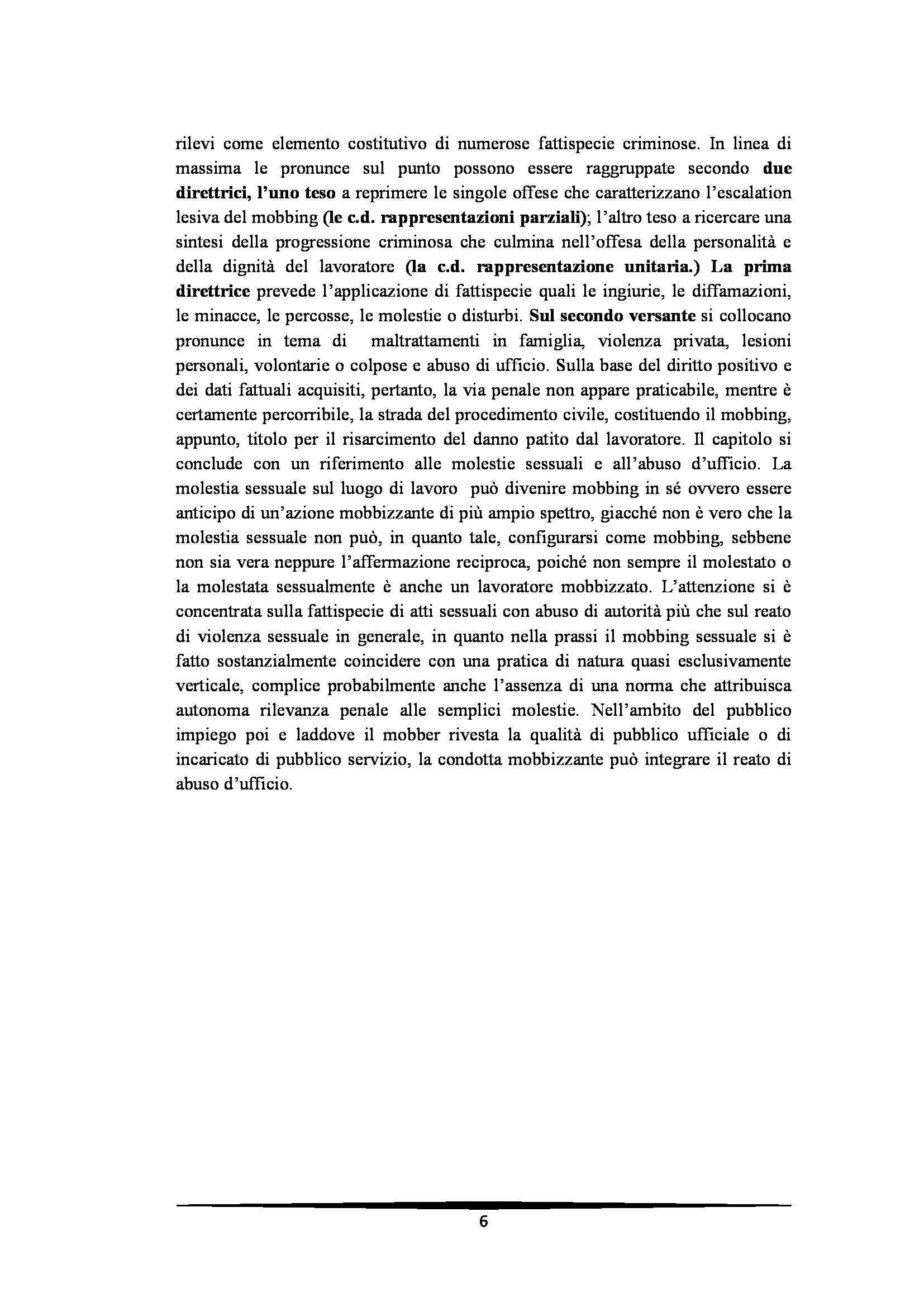 Tesi: Il Mobbing - Introduzione e capitoli Pag. 6