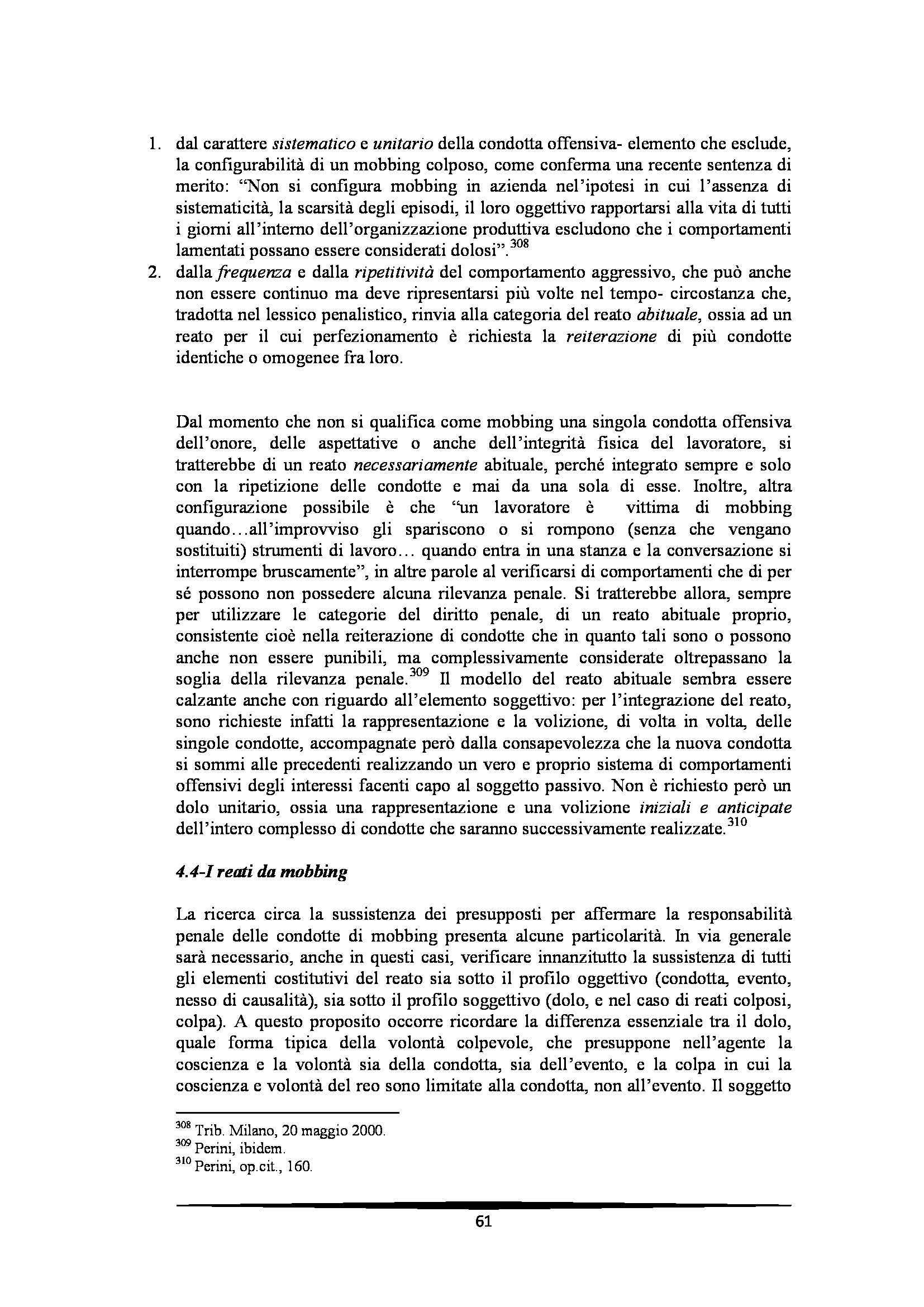 Tesi: Il Mobbing - Introduzione e capitoli Pag. 61