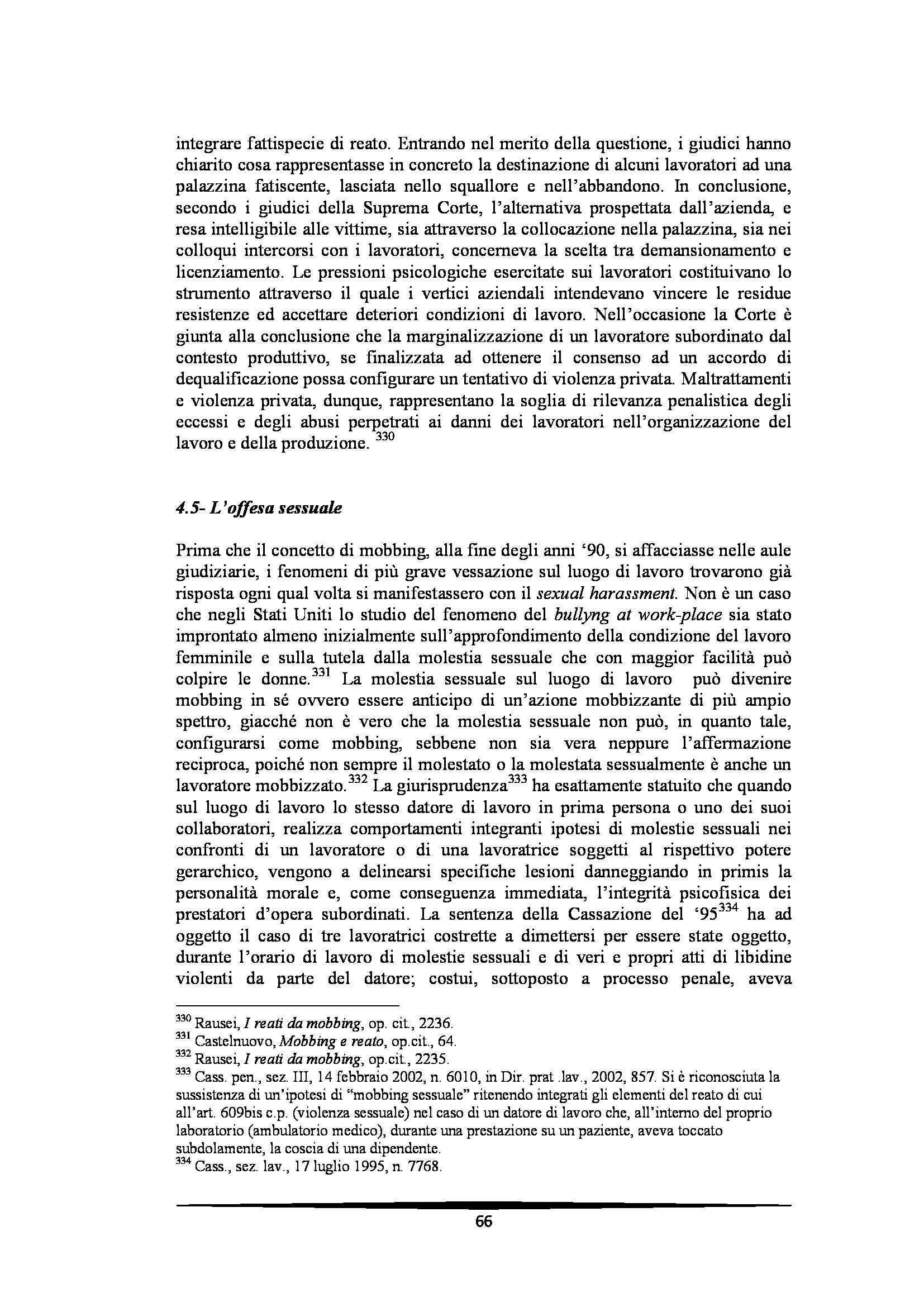 Tesi: Il Mobbing - Introduzione e capitoli Pag. 66