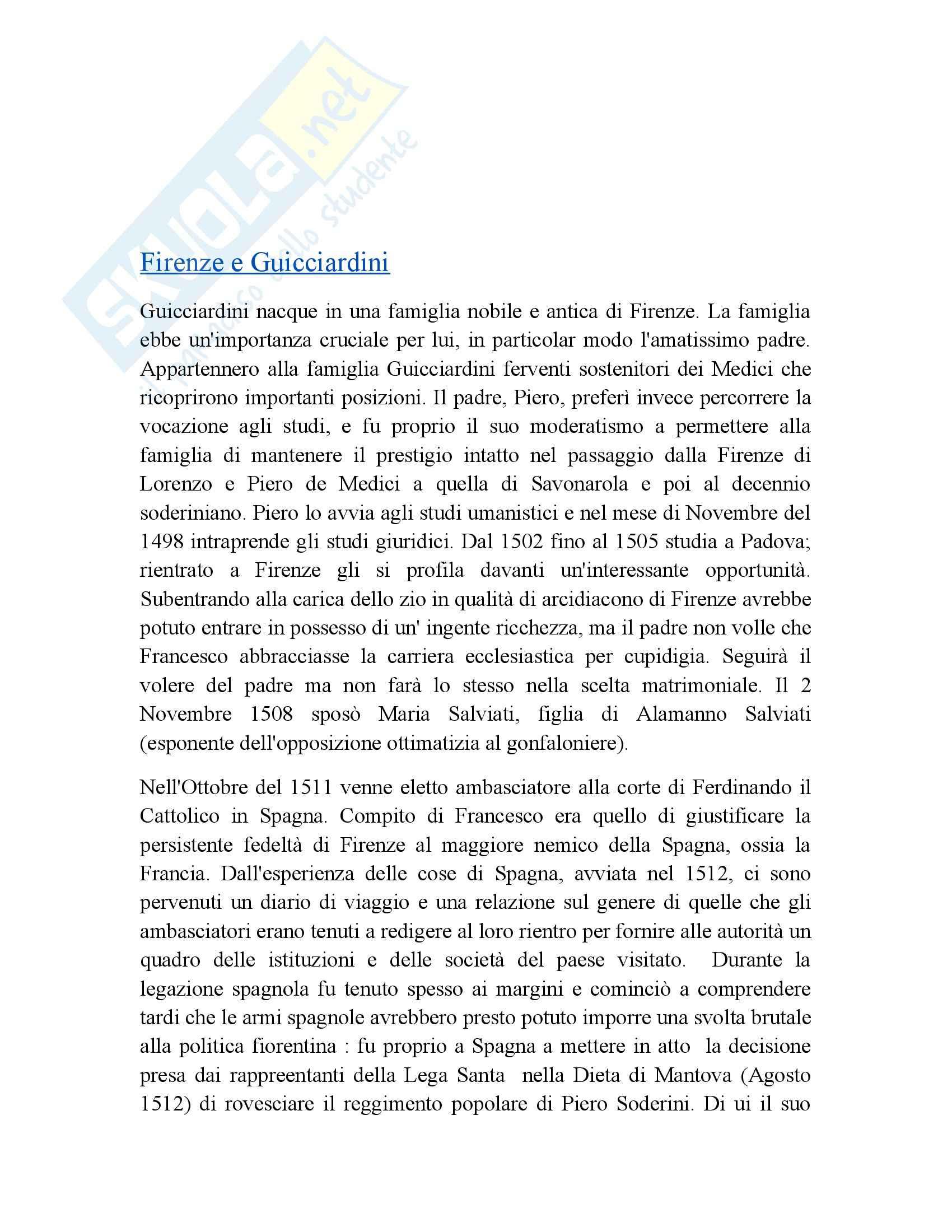 Riassunto esame Letteratura, prof. Grazzini, libro consigliato Guicciardini, Cutinelli, Rèndina