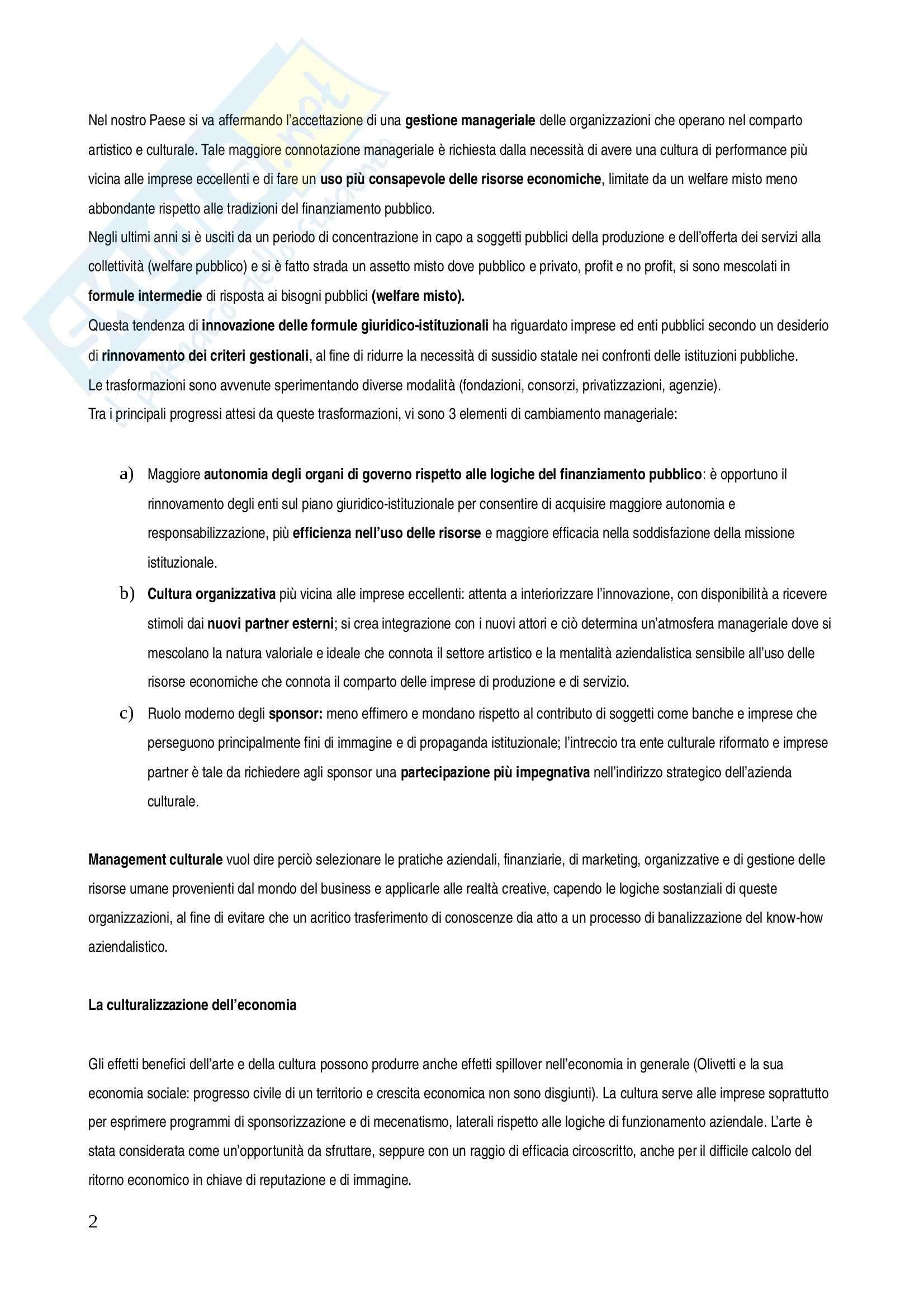 Riassunto esame Management, prof. Salvemini, libro consigliato Management delle istituzioni artistiche e culturali Pag. 2