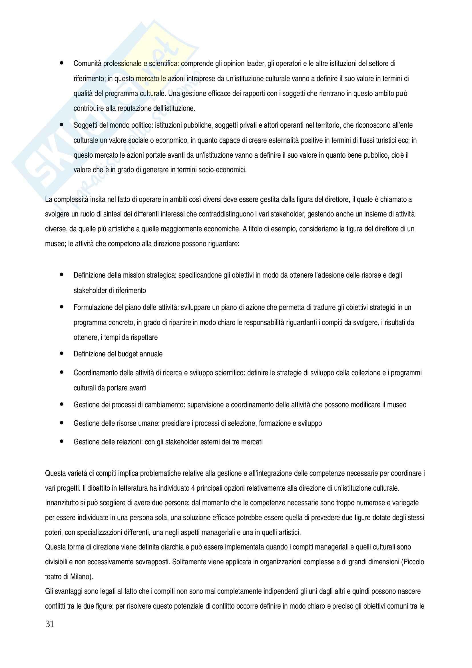 Riassunto esame Management, prof. Salvemini, libro consigliato Management delle istituzioni artistiche e culturali Pag. 31