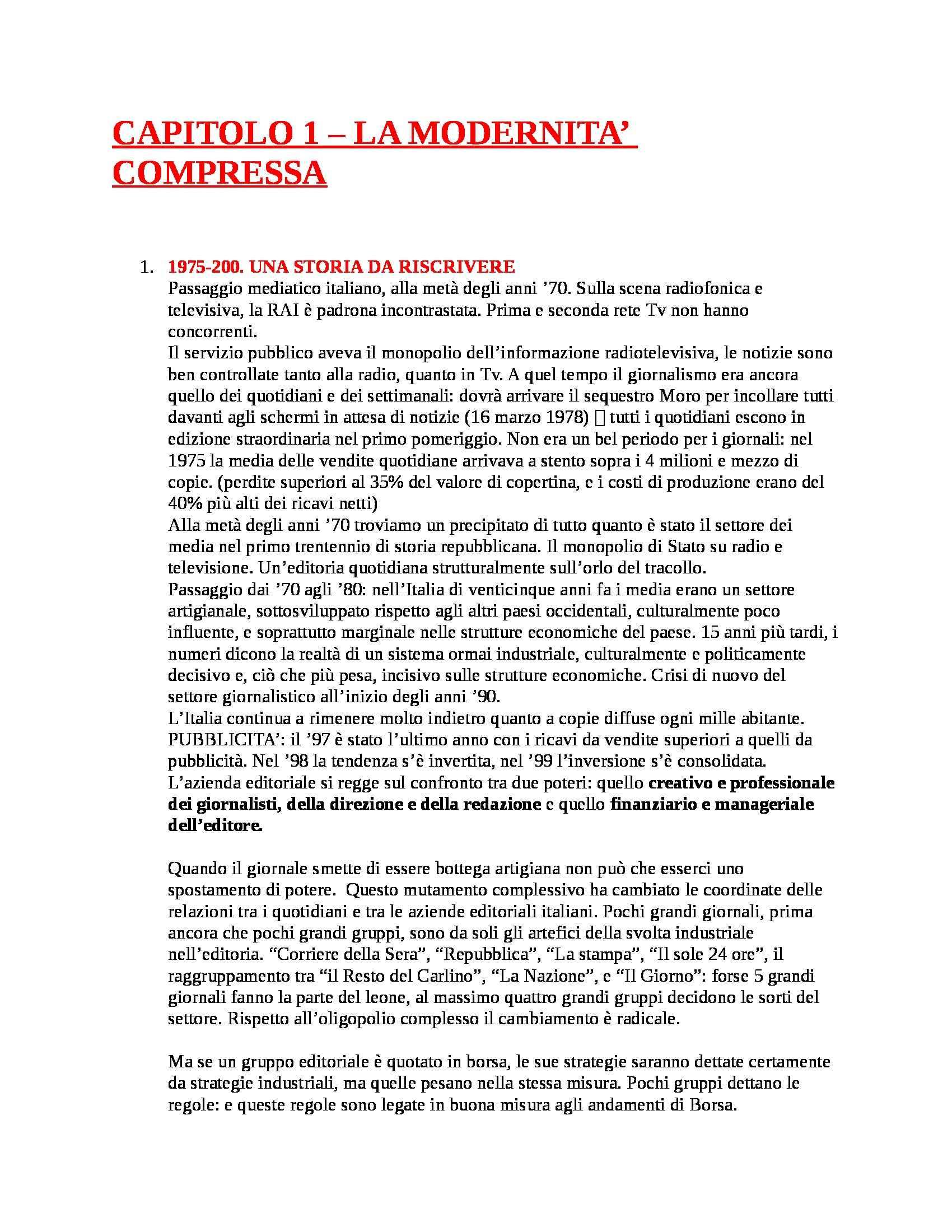 Riassunto esame Teorie e Tecniche del Linguaggio Giornalistico, prof. Agostini, libro consigliato Giornalismi, Media e Giornalisti in Italia