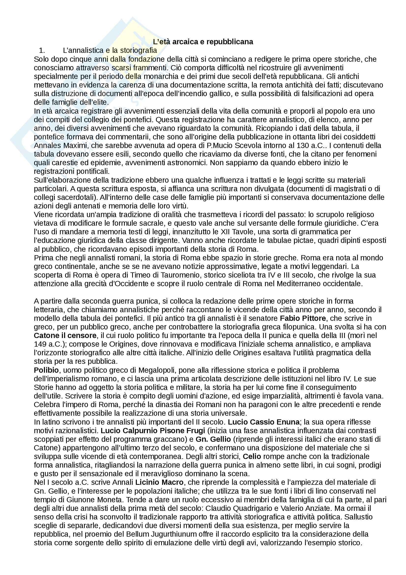 Riassunto esame Storia romana, prof. Soricelli, libro consigliato Antologia delle fonti, Monduzzi