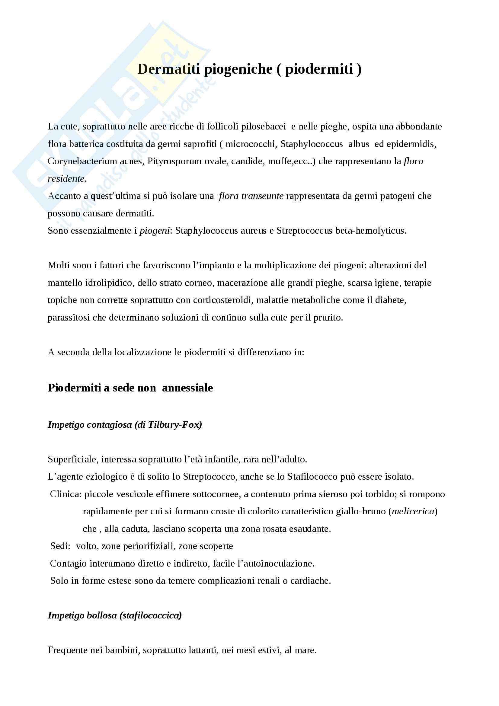Dermatologia - dermatiti piogeniche