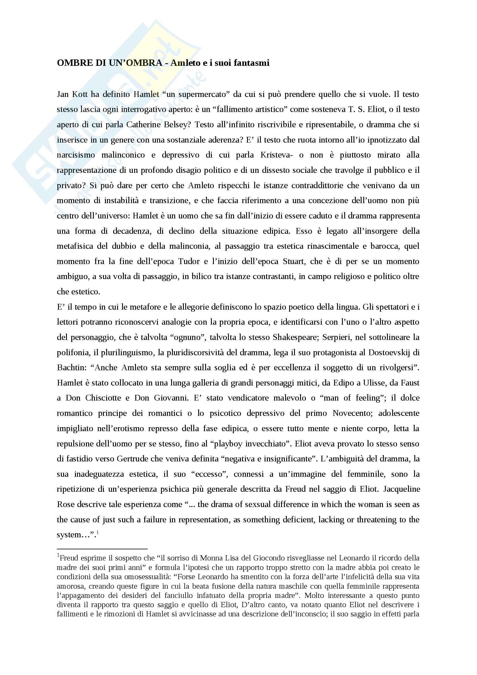 Riassunto esame Letteratura Inglese, prof Ciocca, libro consigliato Ombre di un'ombra, Curti
