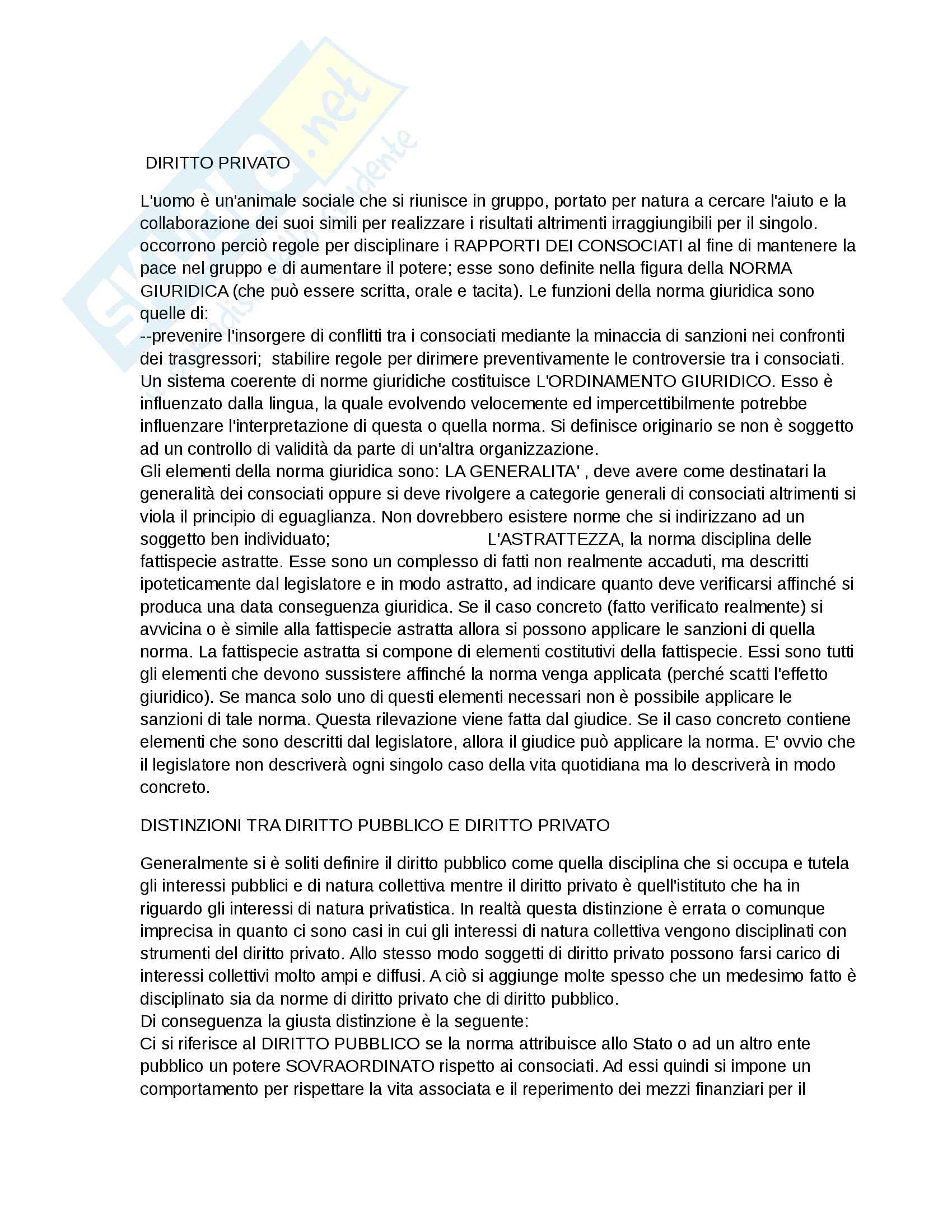 Diritto privato completo professor Rossi