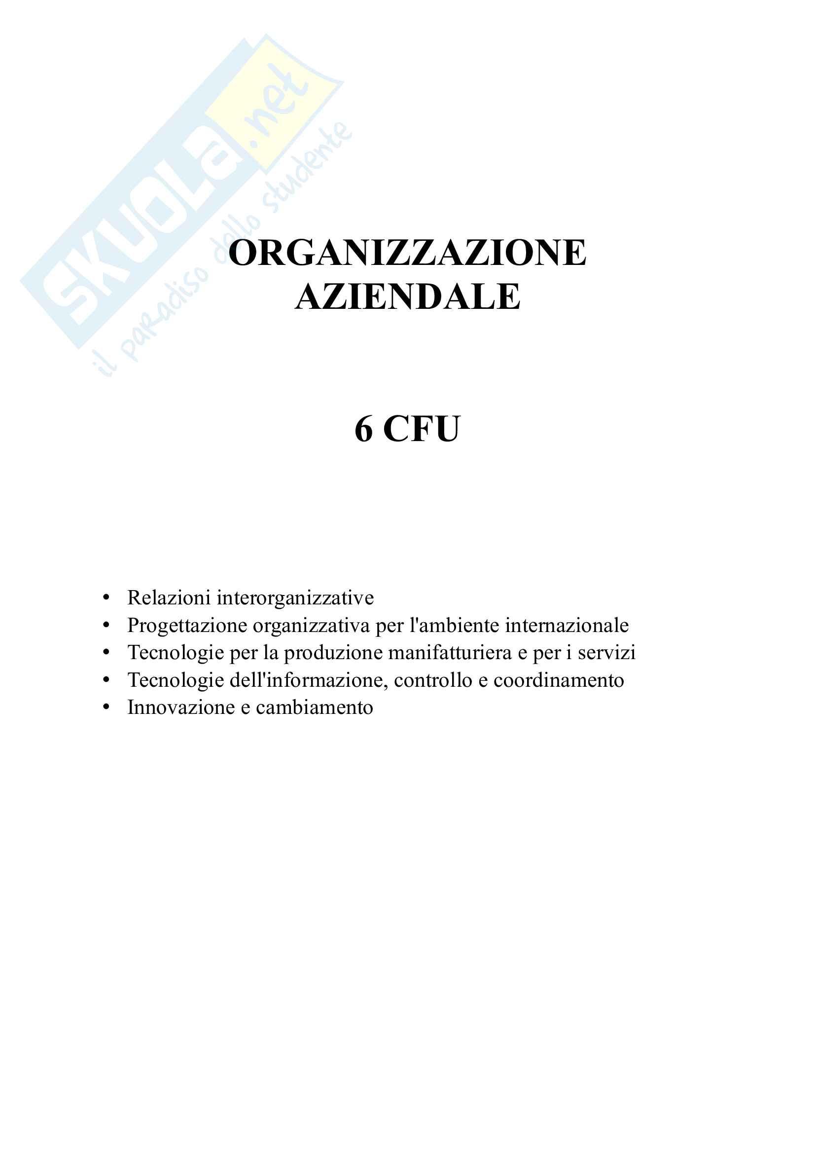 Riassunto esame Organizzazione aziendale, prof. Rossignoli, libro consigliato Organizzazione Aziendale di Daft Pag. 1