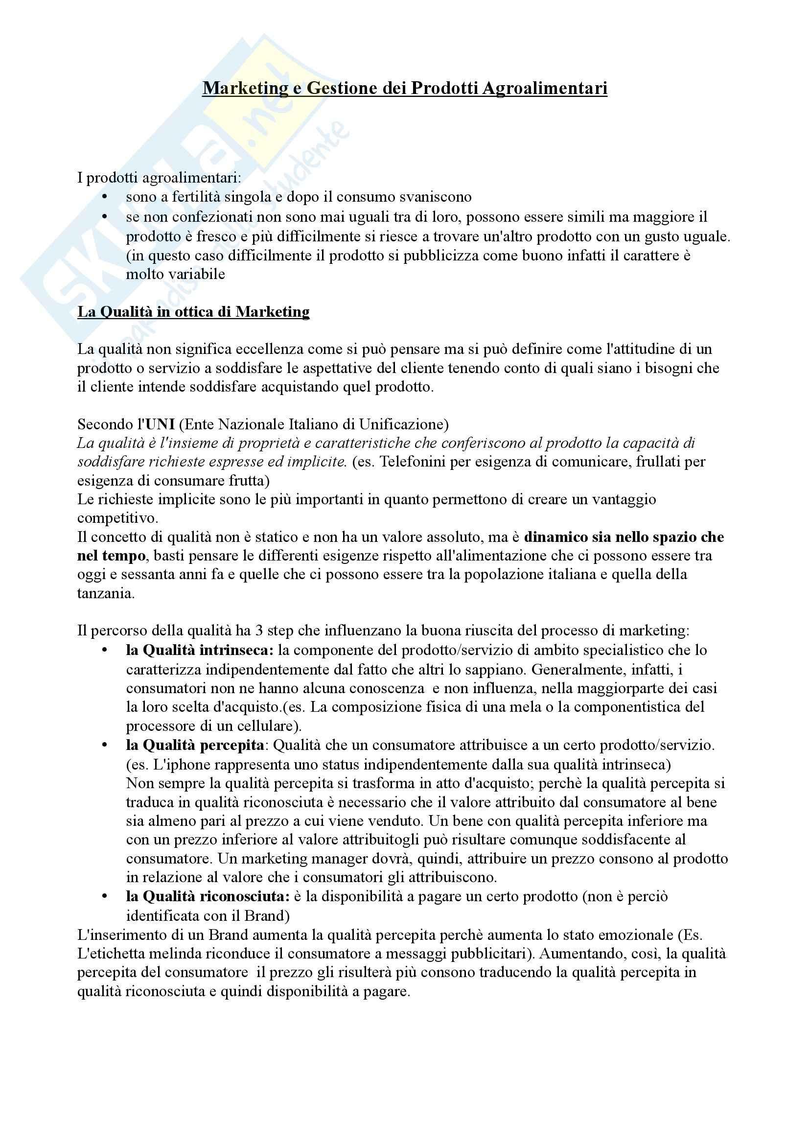 Marketing e Gestione dei prodotti agroalimentari - Appunti