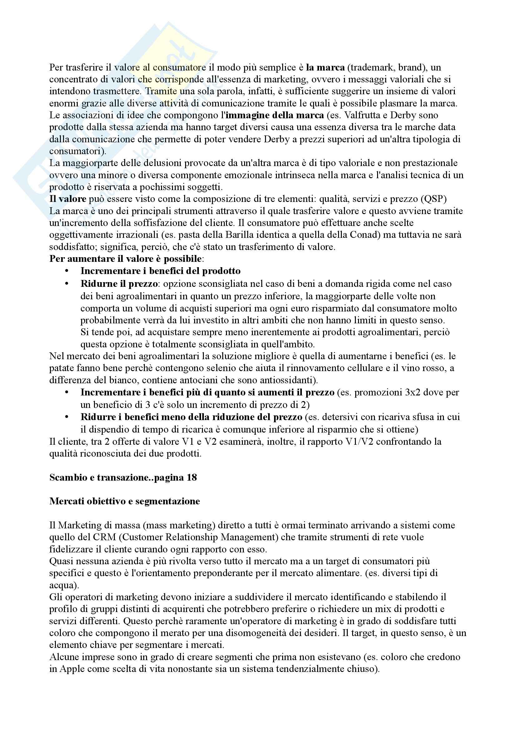 Marketing e Gestione dei prodotti agroalimentari - Appunti Pag. 16