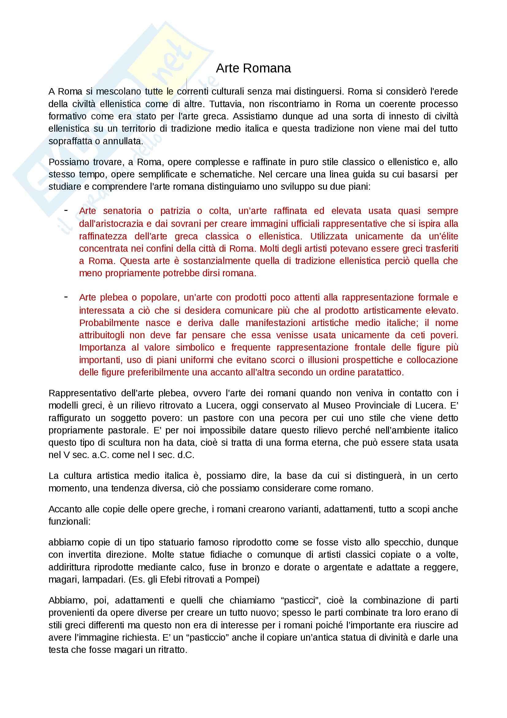 Riassunto esame Arte Romana, prof. Legrottaglie, libro consigliato Arte romana, Bianchi Bandinelli