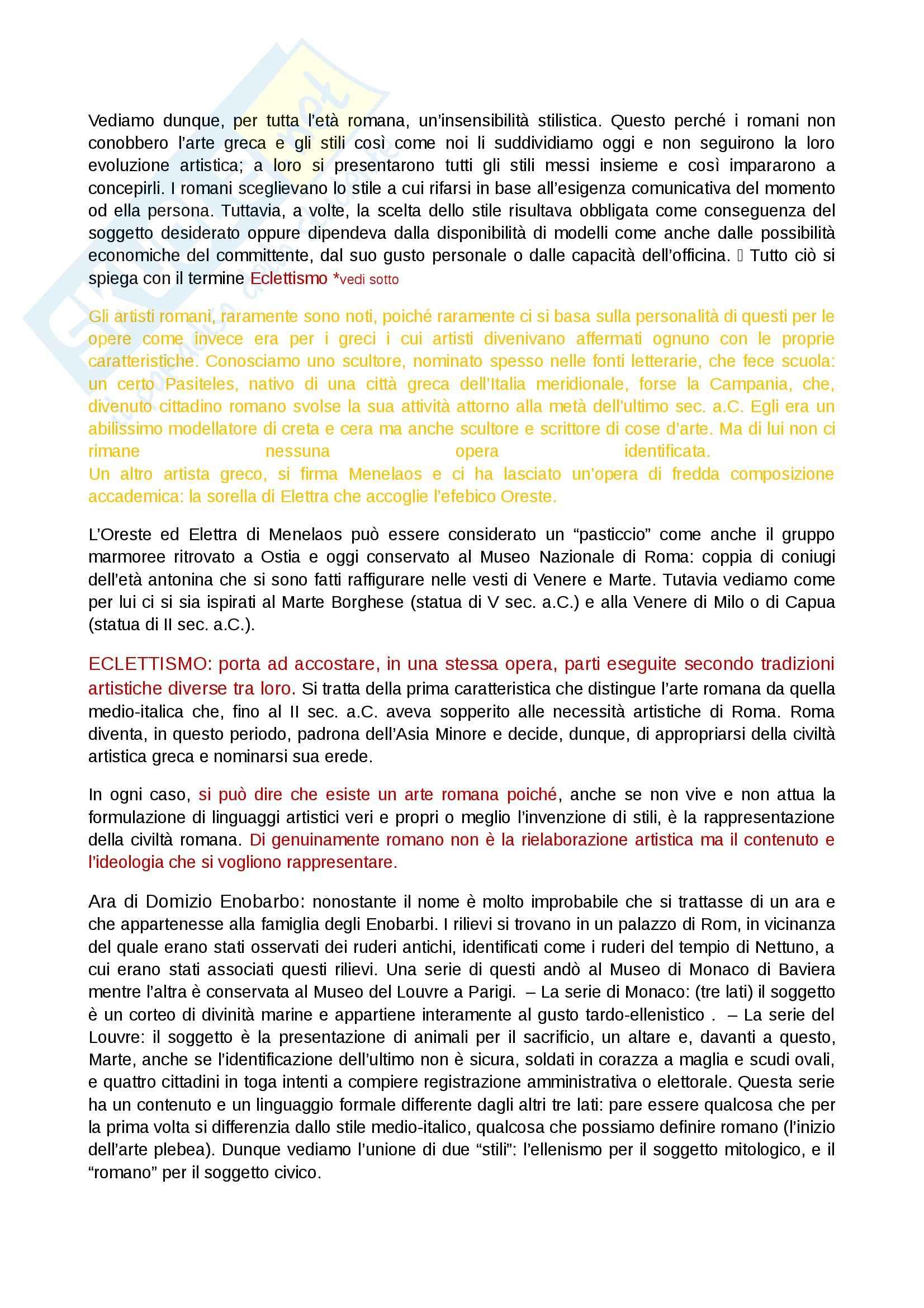 Riassunto esame Arte Romana, prof. Legrottaglie, libro consigliato Arte romana, Bianchi Bandinelli Pag. 2