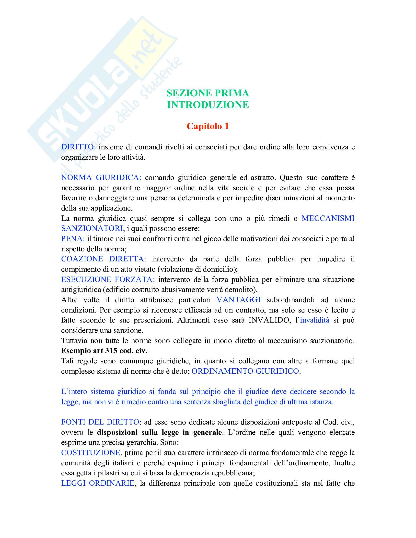 Riassunto esame Istituzioni di diritto privato, prof. Carnevali, libro consigliato Istituzioni di Diritto privato, Trimarchi Pag. 1