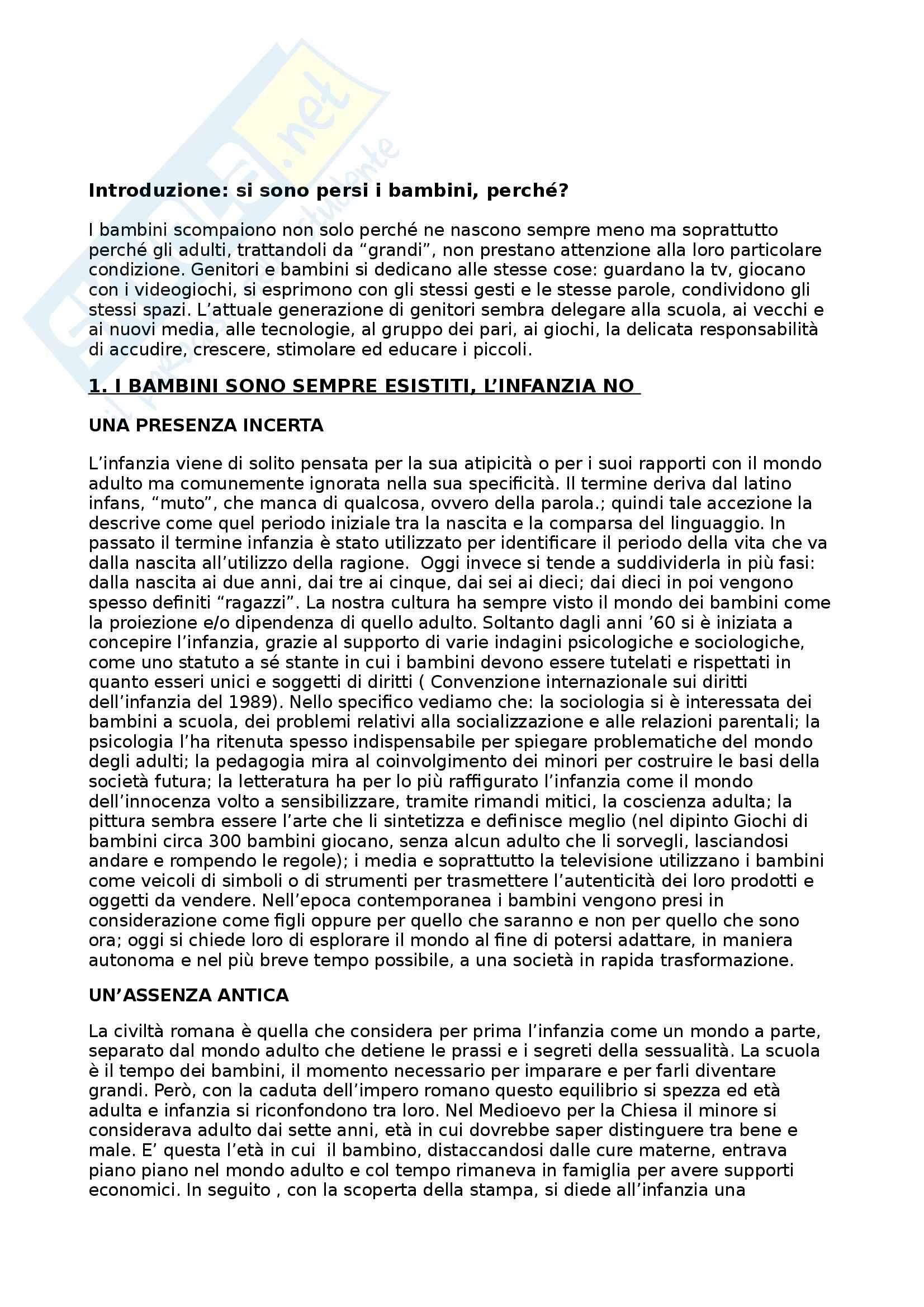 Riassunto esame Sociologia del Mutamento, prof. D'Amato, libro consigliato Ci Siamo Persi i Bambini