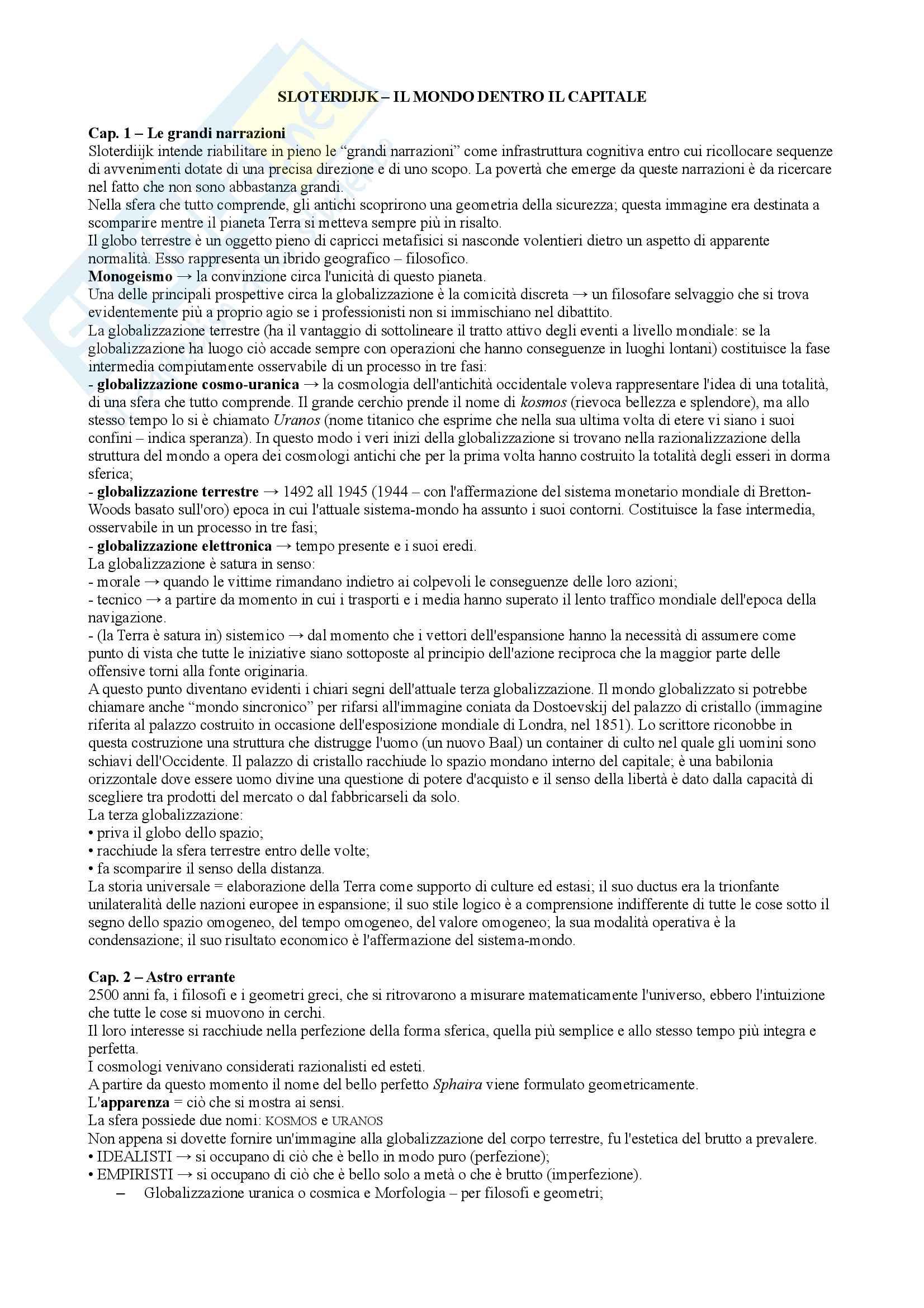 Riassunto esame Geografia della comunicazione, prof. Bonazzi, libro consigliato Il mondo dentro il capitale, Peter Sloterdijk