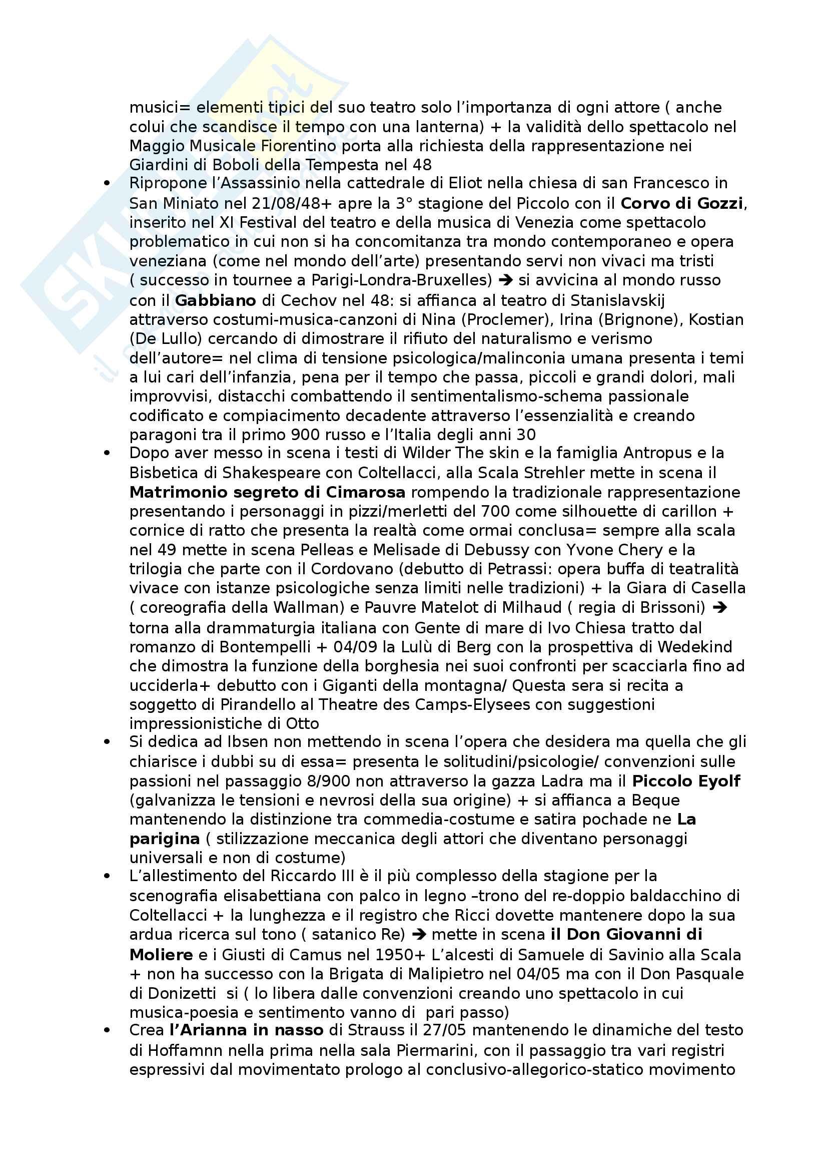 Riassunto esame Storia del Teatro e dello Spettacolo, prof. Cambiaghi, libro consigliato Il Teatro di Strehler, Bentoglio Pag. 6