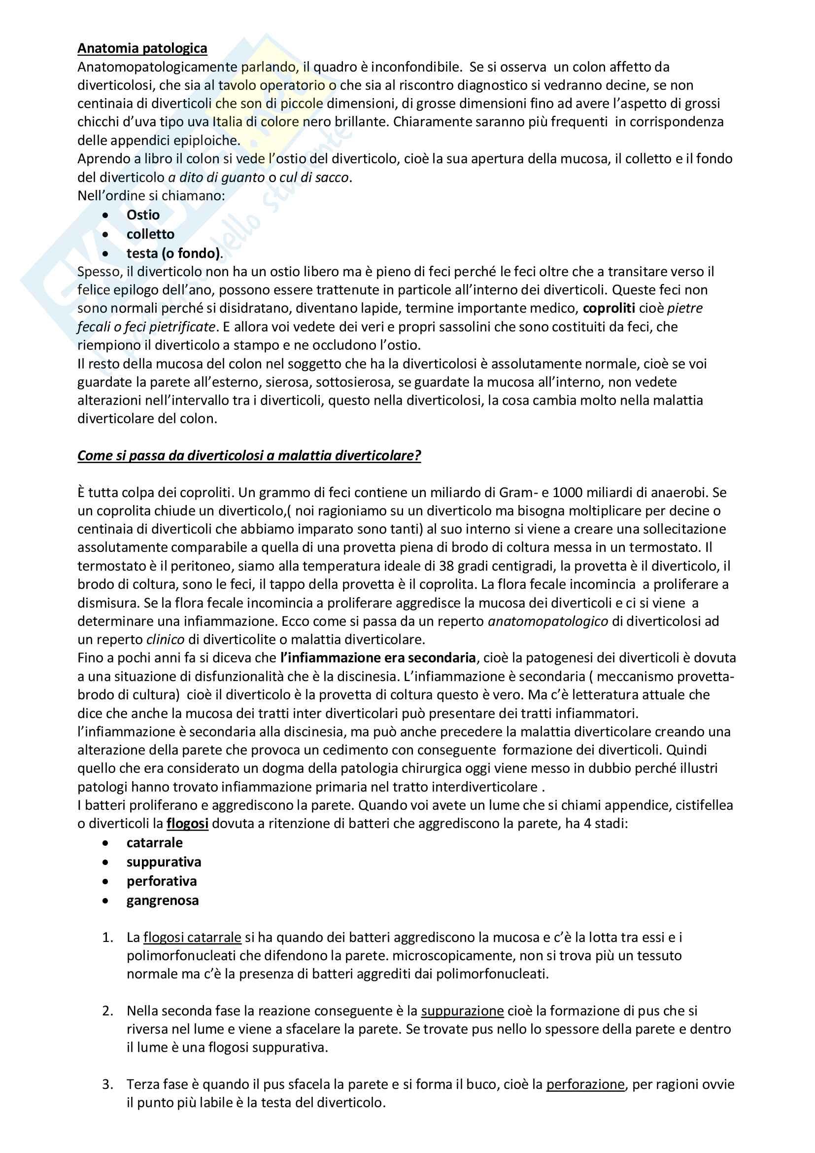 Diverticolosi, Malattia diverticolare, Appendice e appendicite Pag. 6