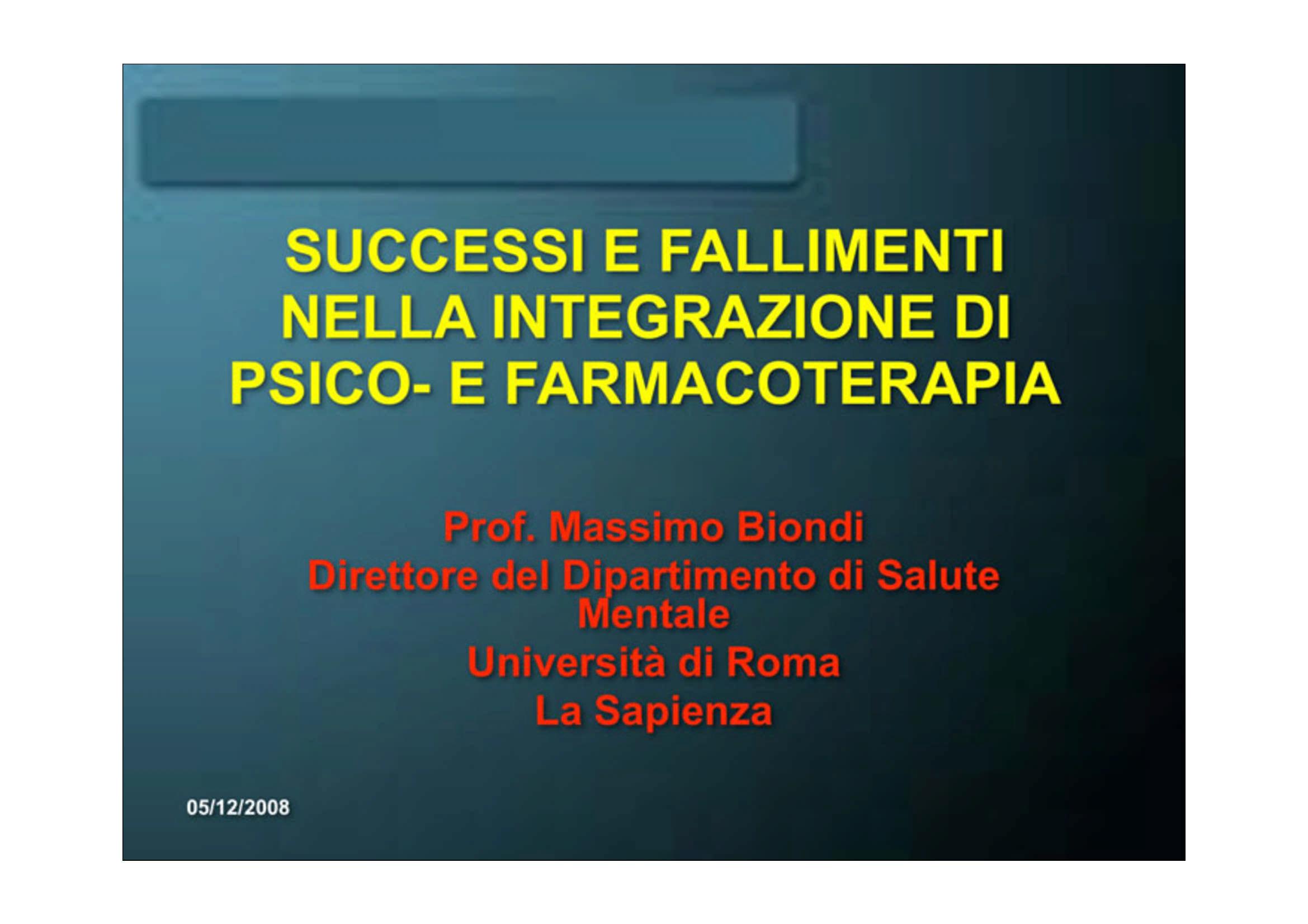 Integrazione di psicoterapia e farmacoterapia
