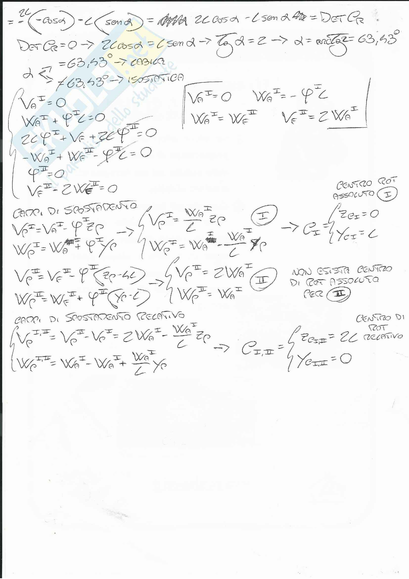 Esercizi Analisi Cinematica - Isostatiche Pag. 11