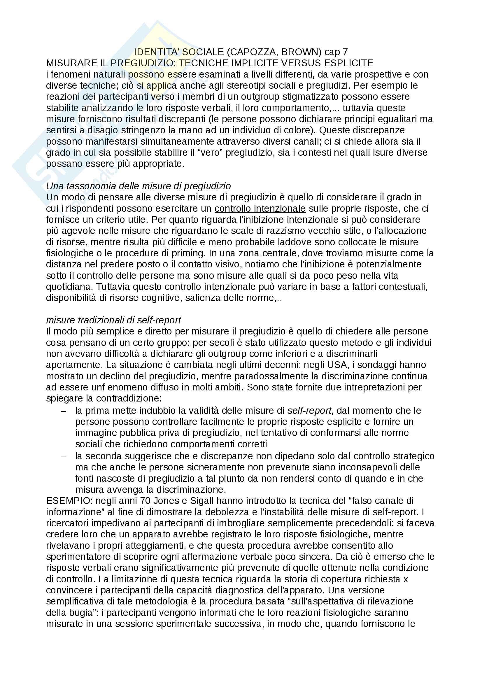 Appunti per esame di psicologia dell'atteggiamento, testo consigliato identità sociale