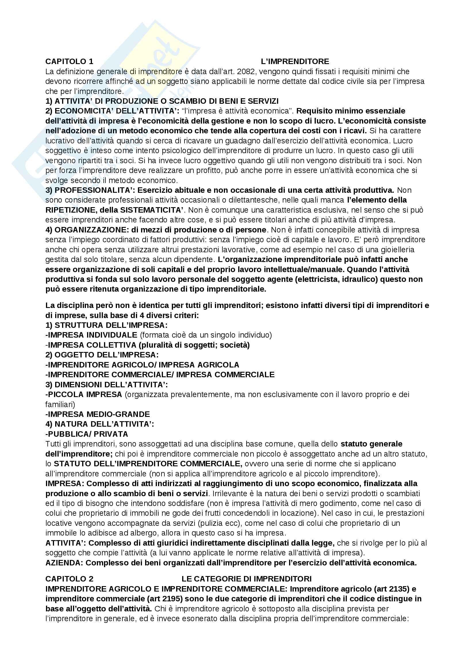 Appunti completi diritto commerciale
