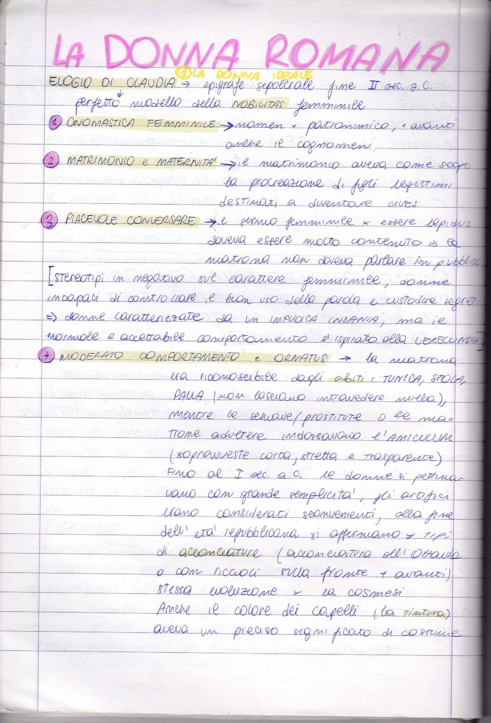 Riassunto esame Storia romana, prof. Buonopane, libro consigliato La donna romana, Cenerini