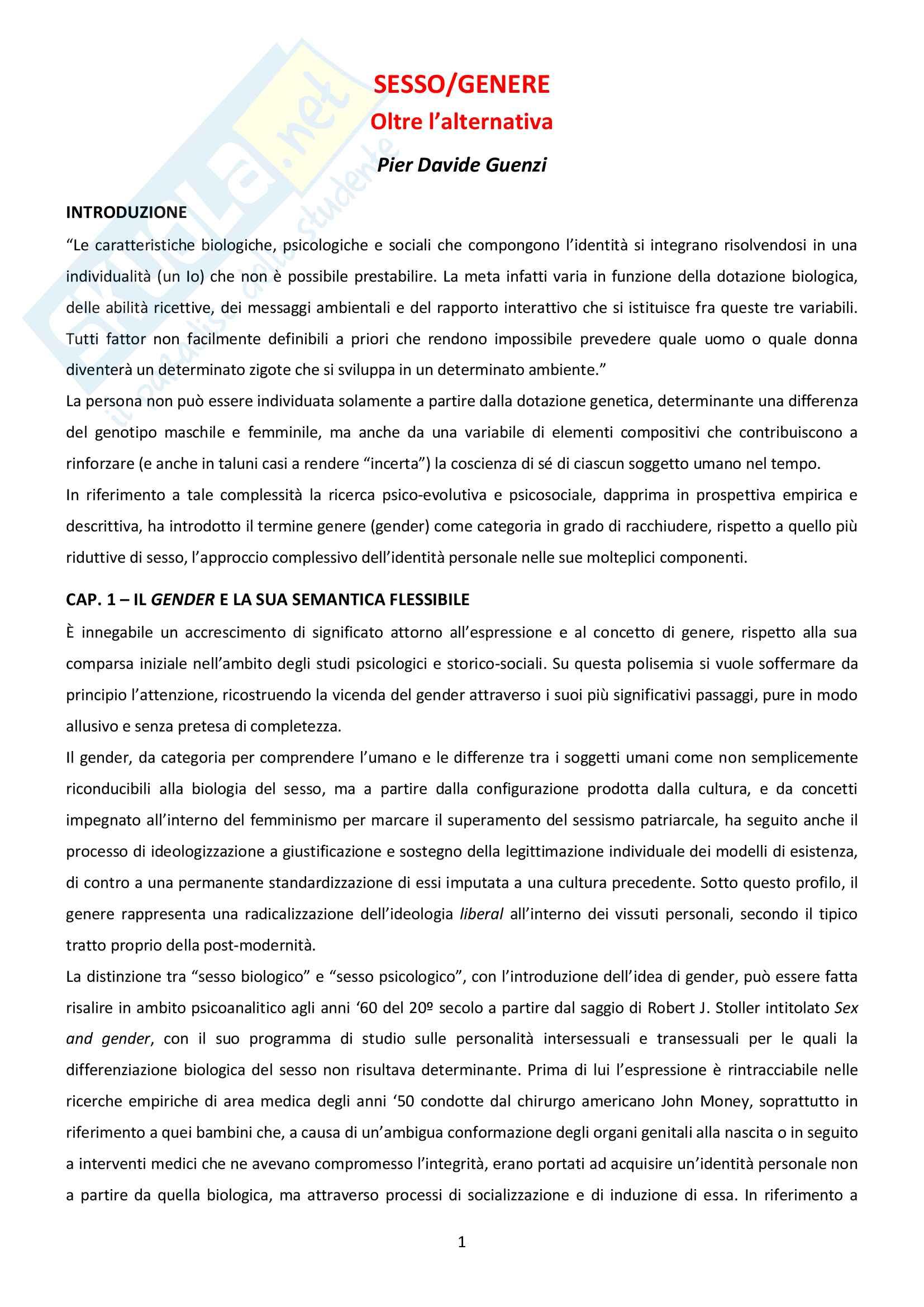 Riassunto esame di Teologia 3, prof. Guenzi, testo consigliato: Sesso-Genere, oltre l'alternativa