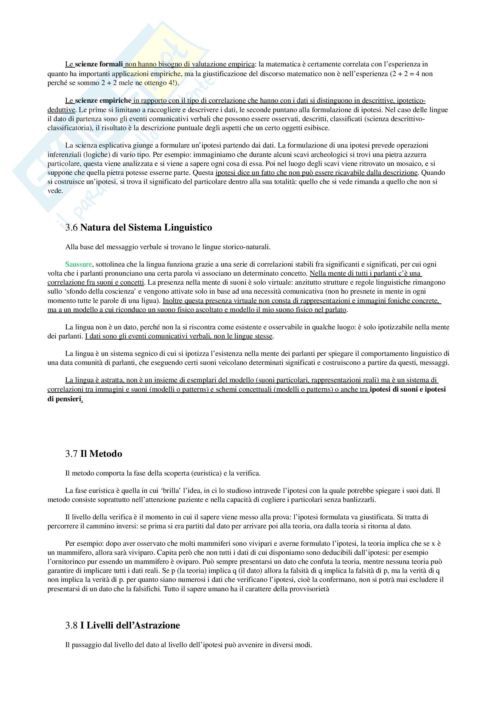 Appunti per Linguistica Generale, prof Gatti, libro consigliato La Comunicazione Verbale, Rigotti e Cigada Pag. 11