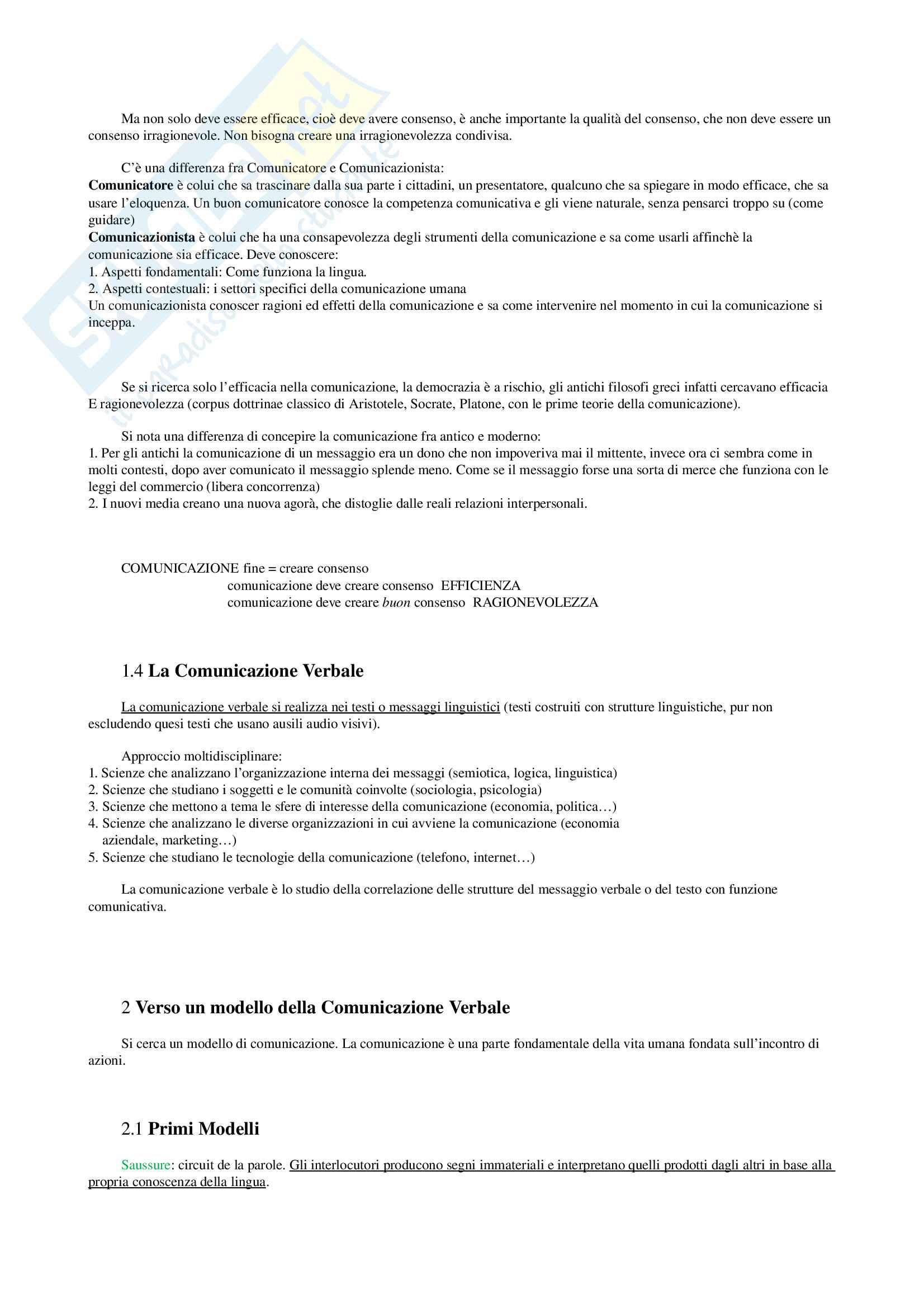 Appunti per Linguistica Generale, prof Gatti, libro consigliato La Comunicazione Verbale, Rigotti e Cigada Pag. 2